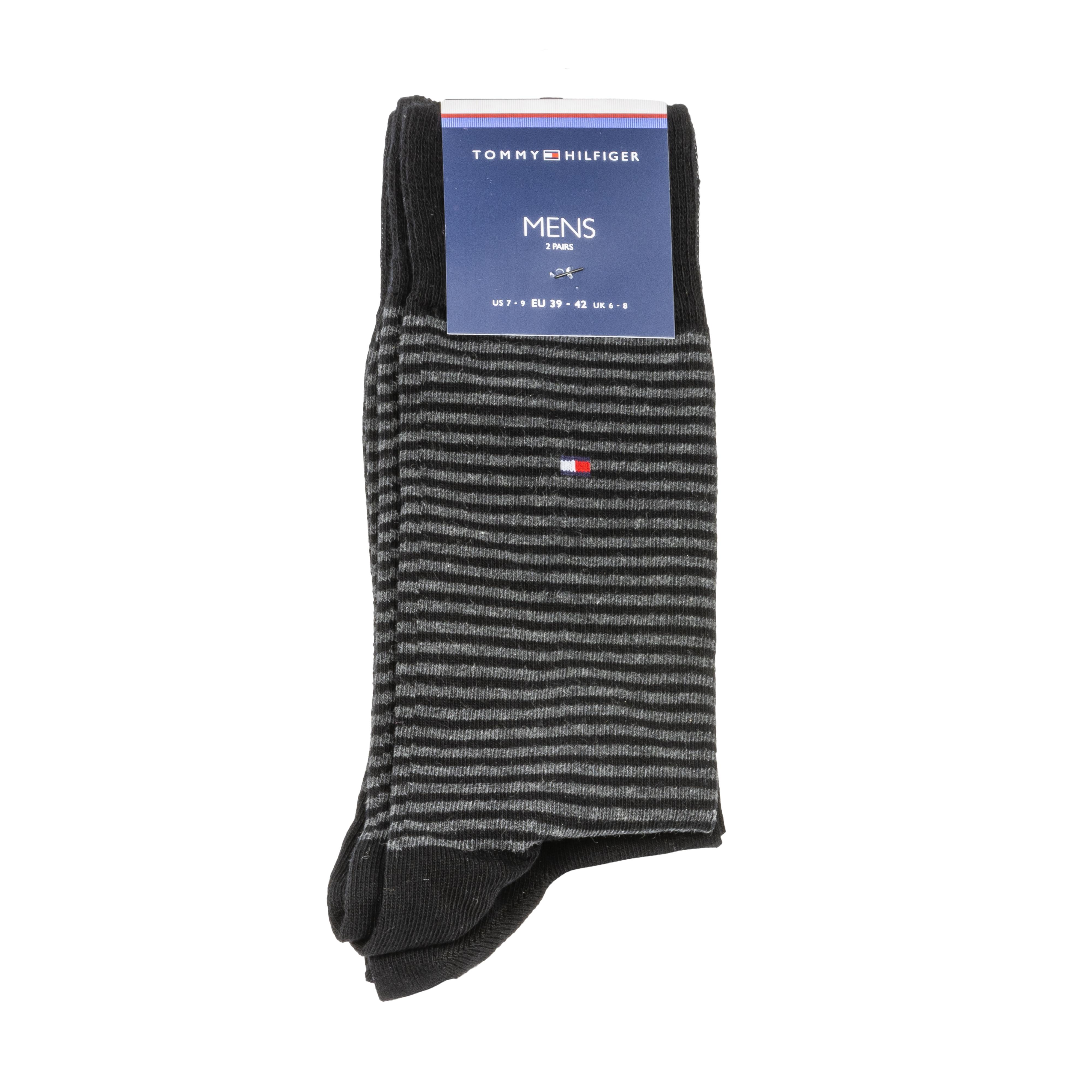 Lot de 2 paires de chaussettes hautes tommy hilfiger small stripe en coton mélangé stretch noir et noir à rayures grises