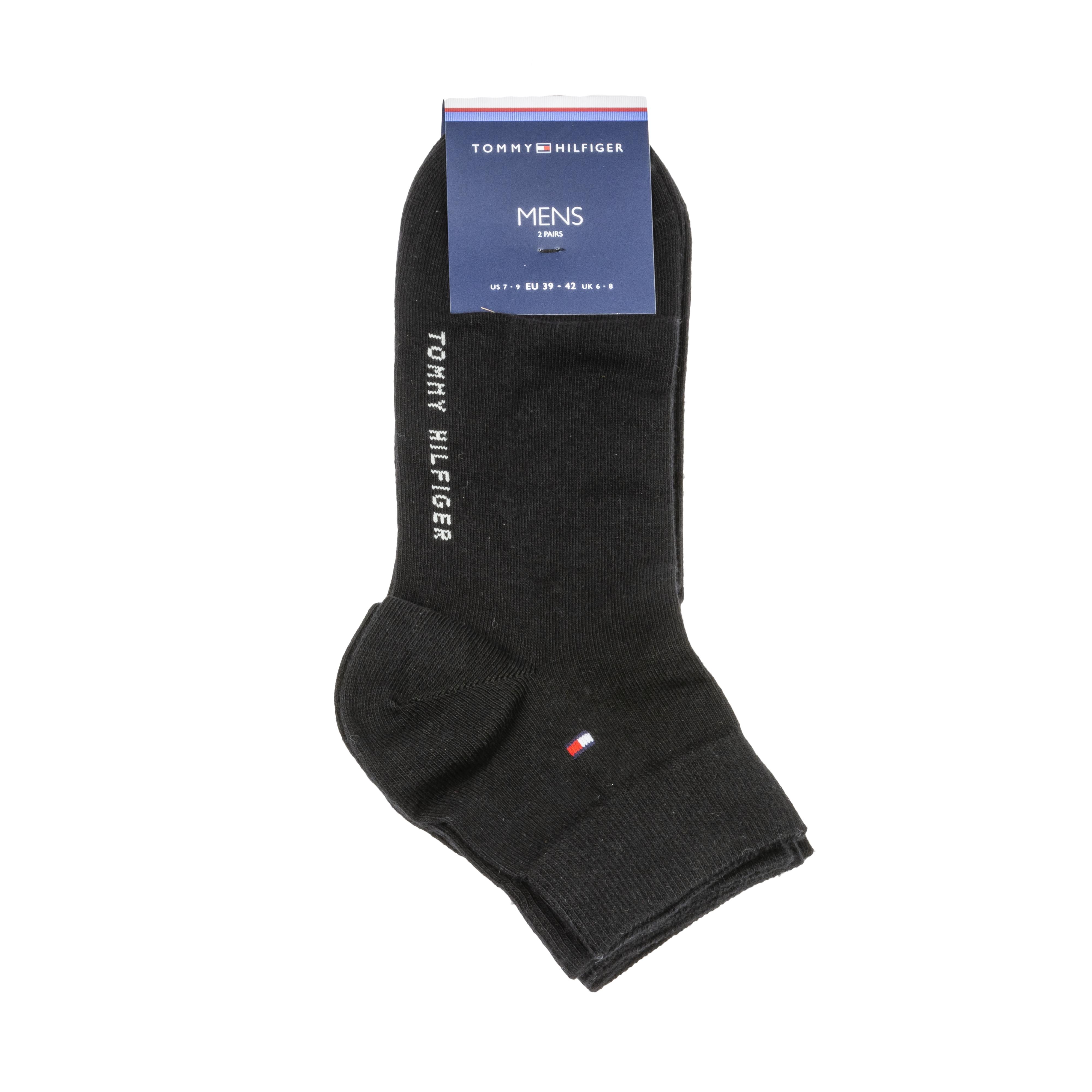 Lot de 2 paires de chaussettes tommy hilfiger quarter en coton mélangé stretch noir
