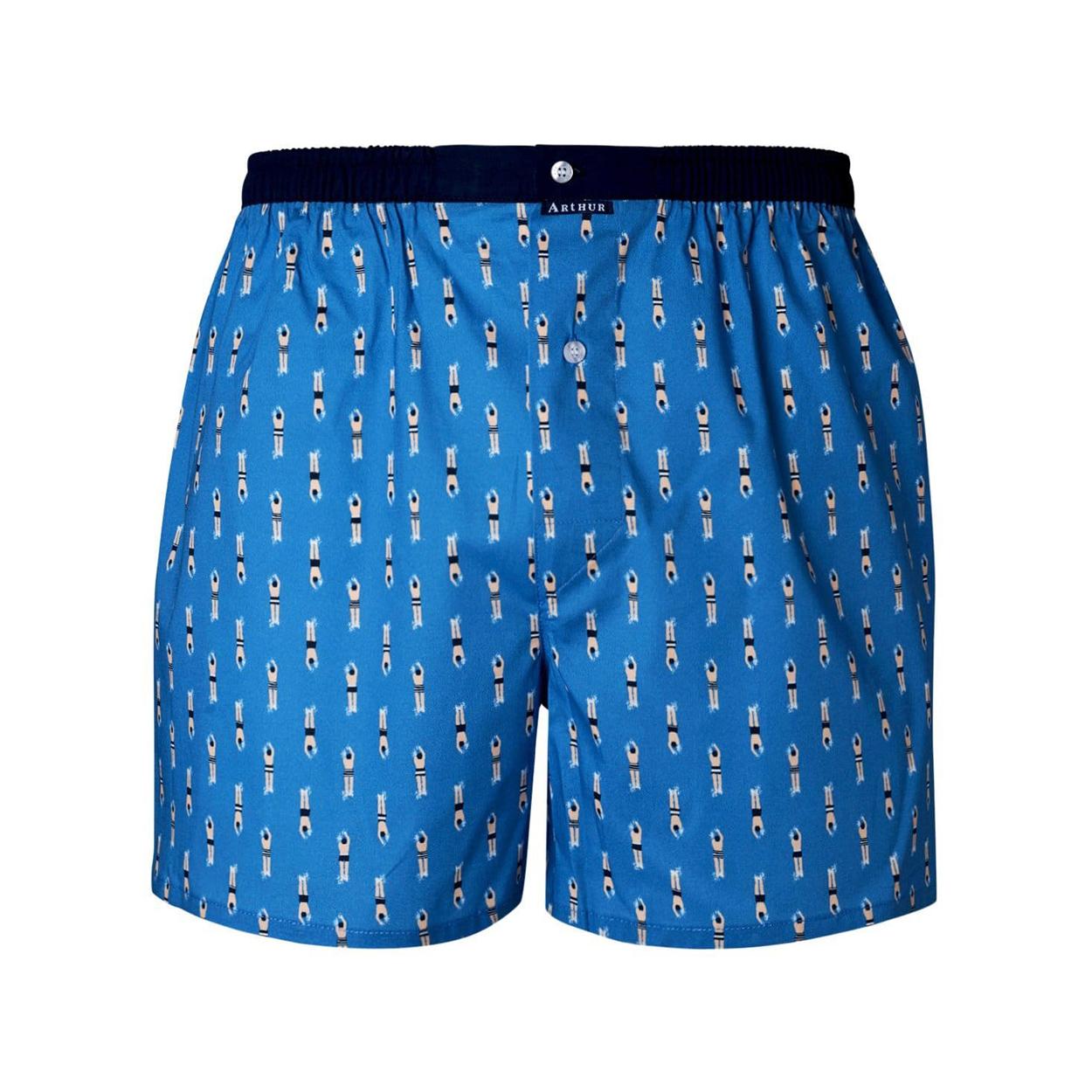 Caleçon  bain en coton stretch bleu indigo à motifs plongeurs