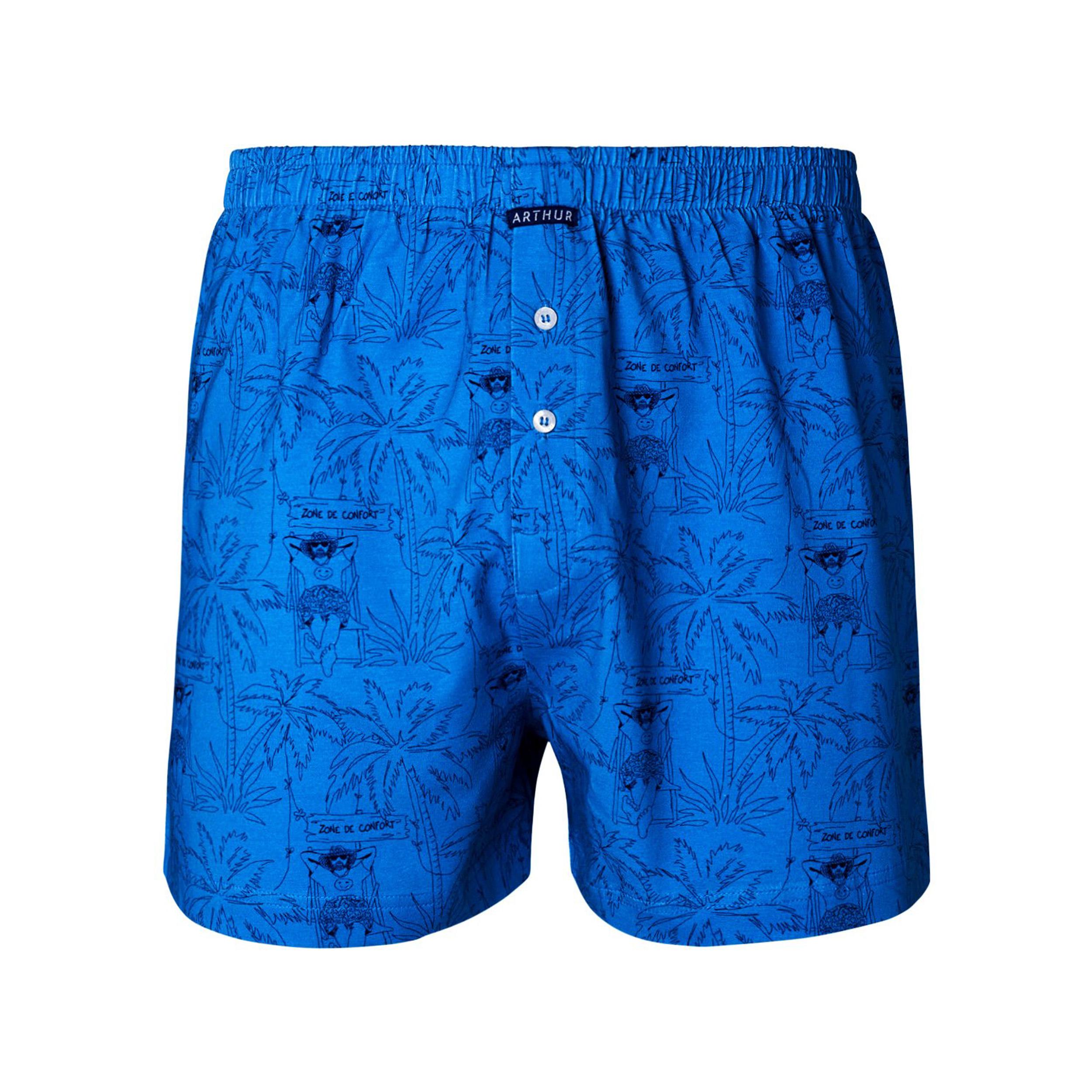 Caleçon  confort en coton stretch bleu azur à motifs palmier