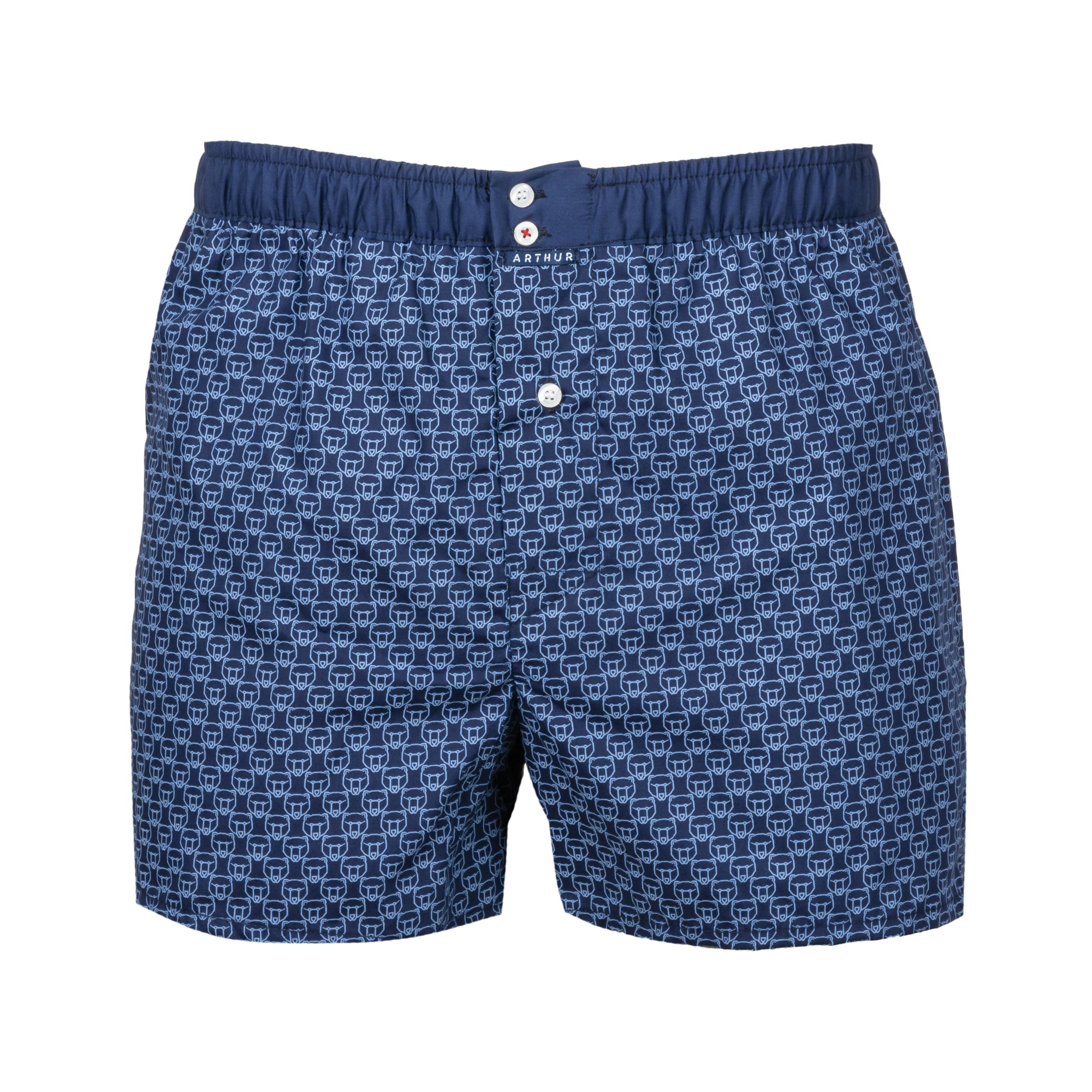 Caleçon  en coton bleu marine logotypé bleu ciel