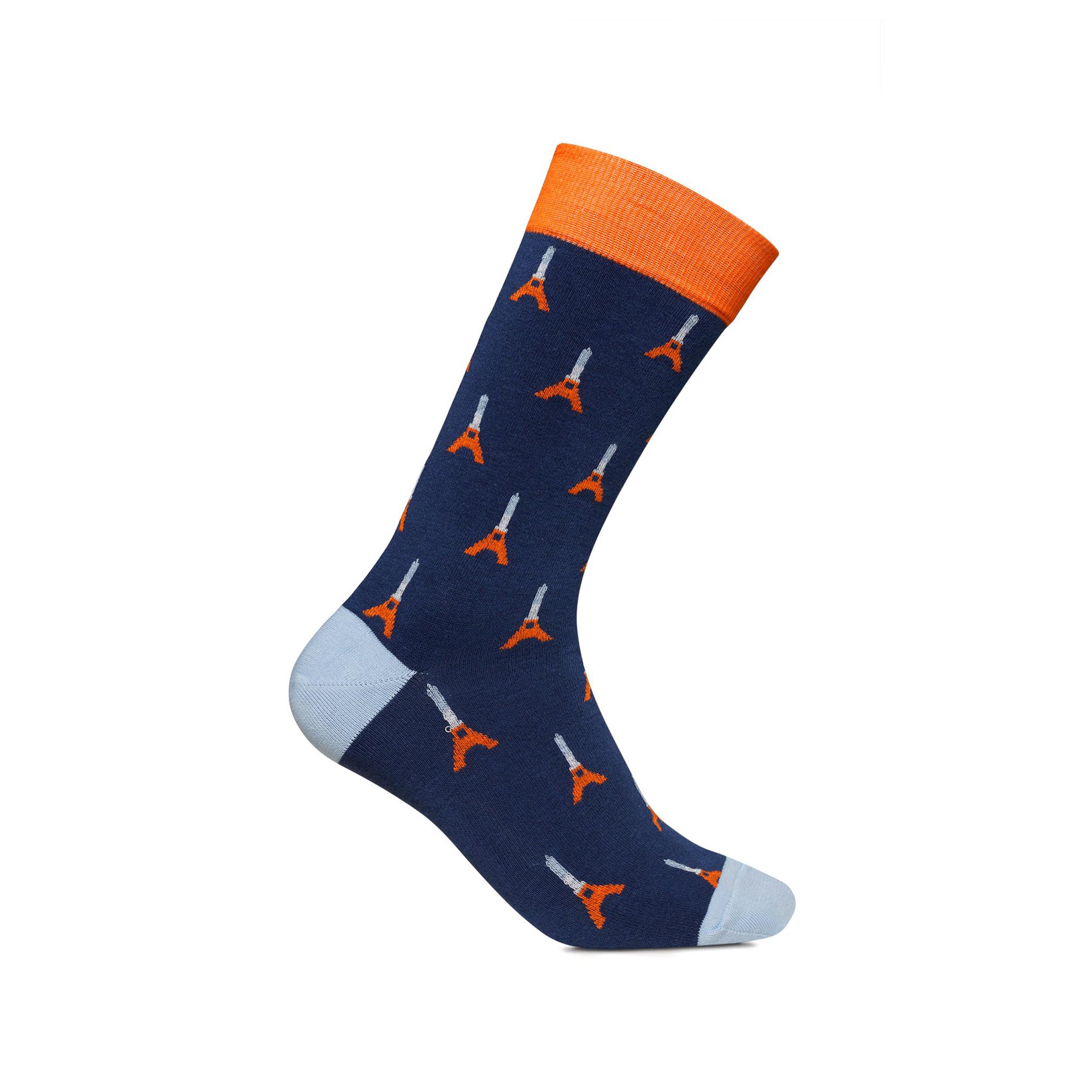 Chaussettes hautes  tour eiffel bleu marine imprimées en orange et bleu ciel
