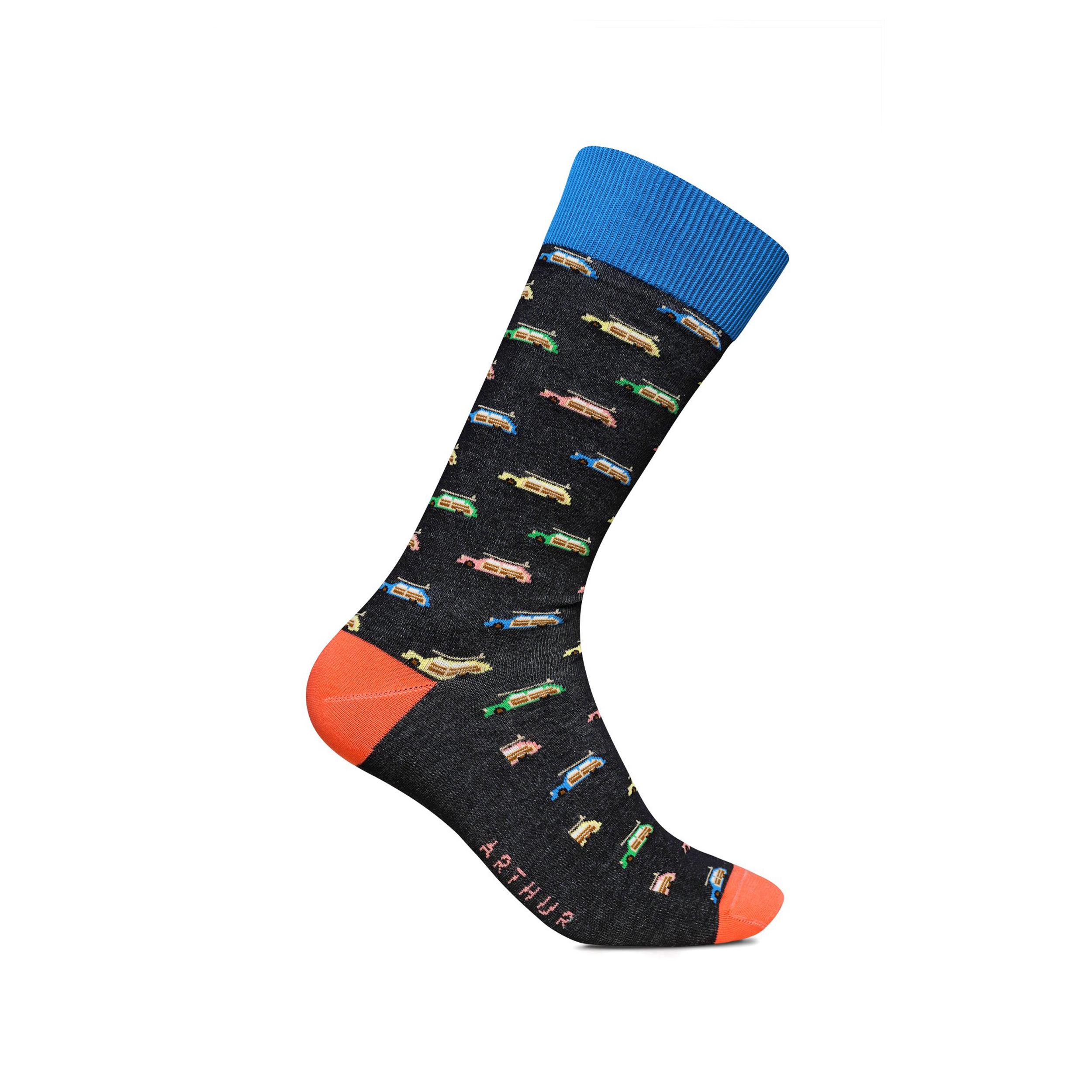 Chaussettes hautes  vane en coton mélangé noir imprimé vans multicolores