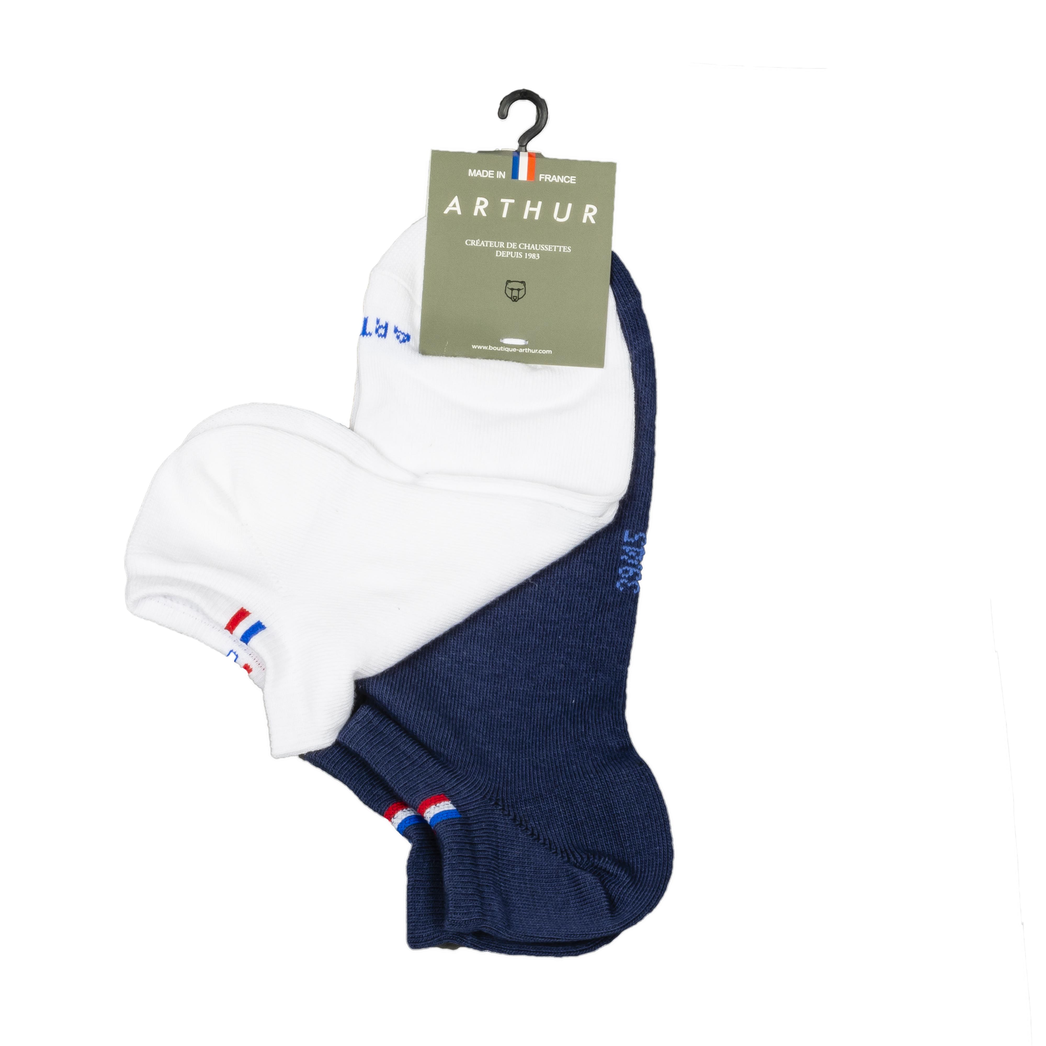Lot de 2 paires de chaussettes basses  nunie en coton mélangé bleu marine et blanches