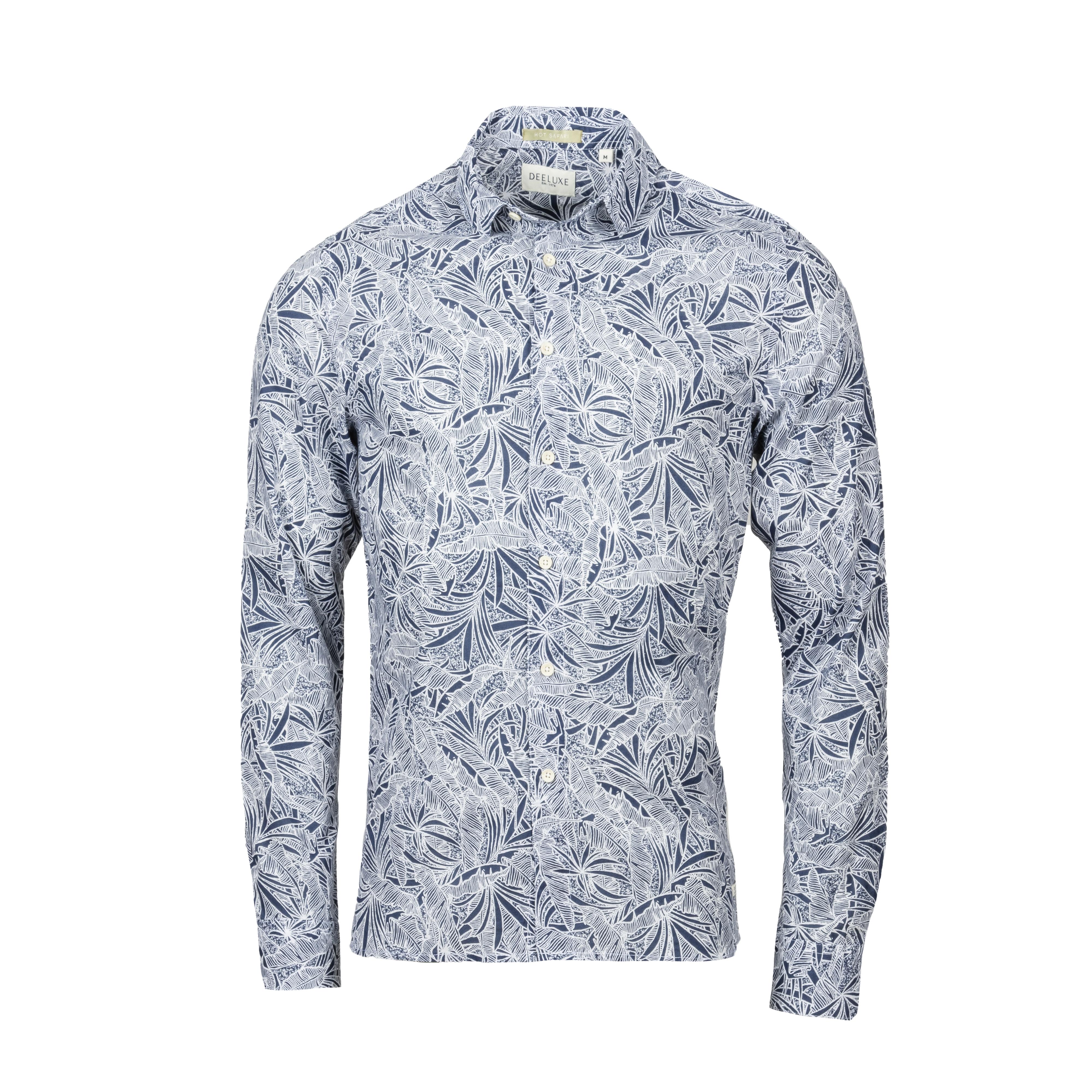 Chemise coupe ajustée deeluxe digo en coton bleu marine et blanc à motifs feuilles