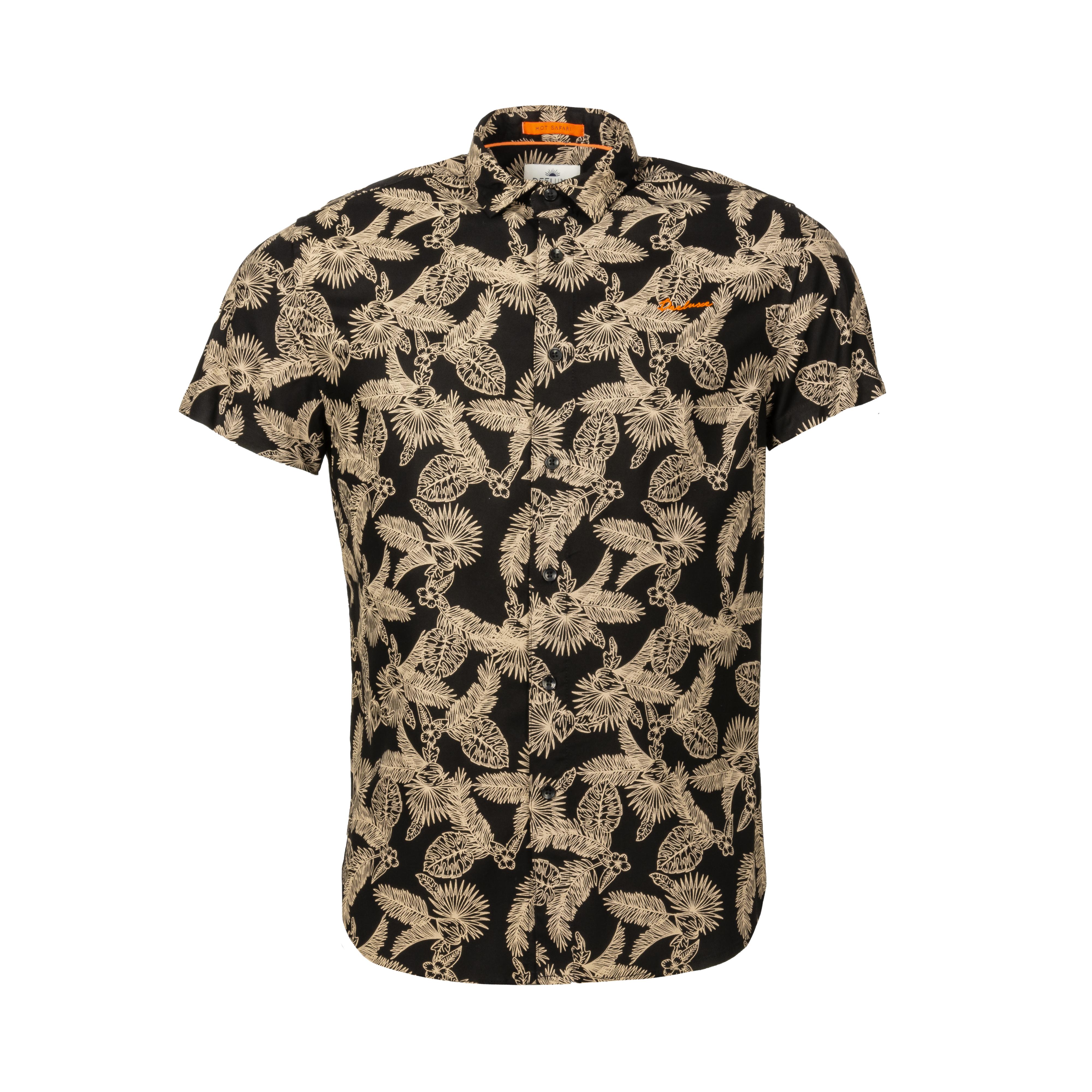 Chemise manches courtes coupe droite deeluxe haley en coton mélangé noire à impression beige