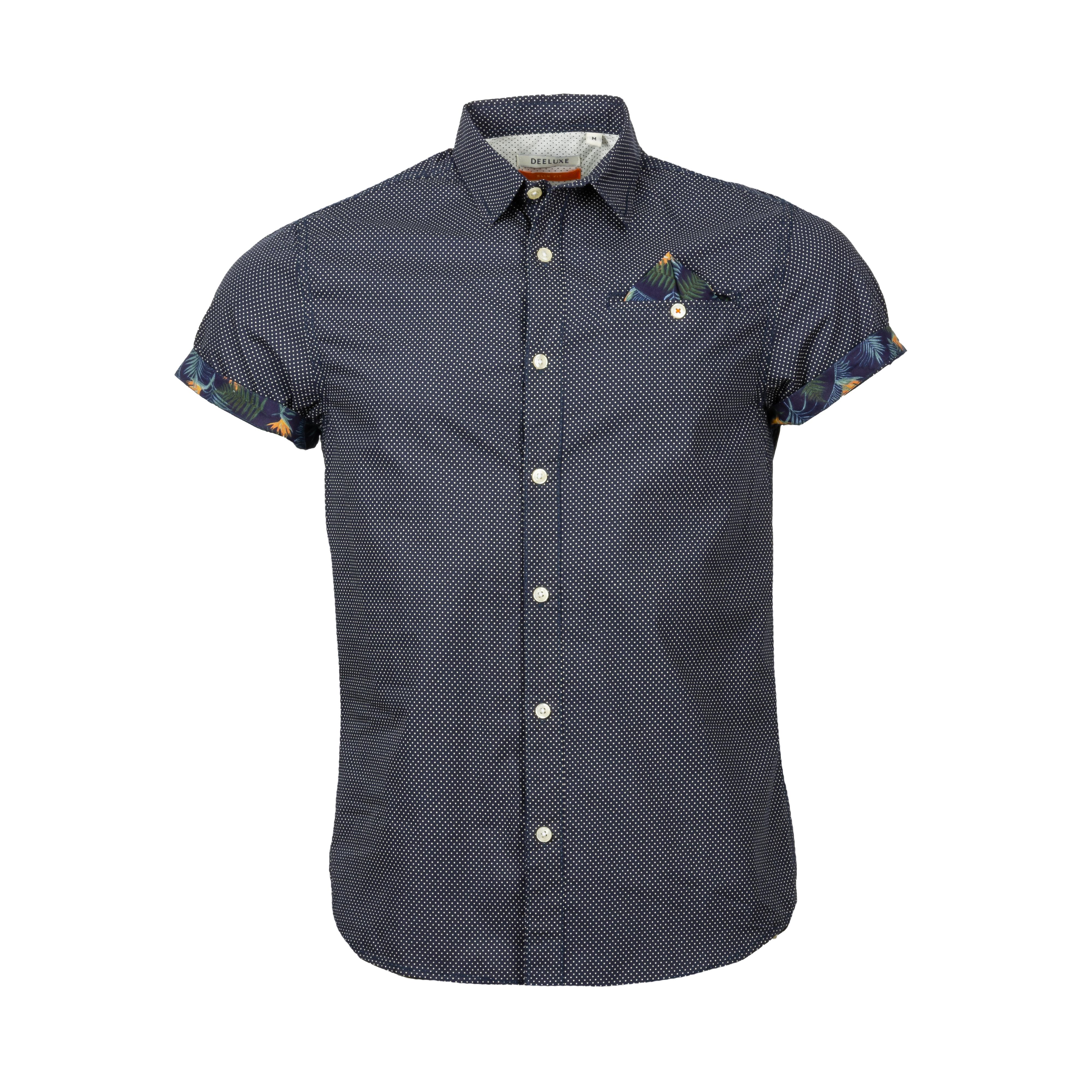 Chemise manches courtes coupe cintrée deeluxe feliz en coton bleu marine à micro motifs blancs