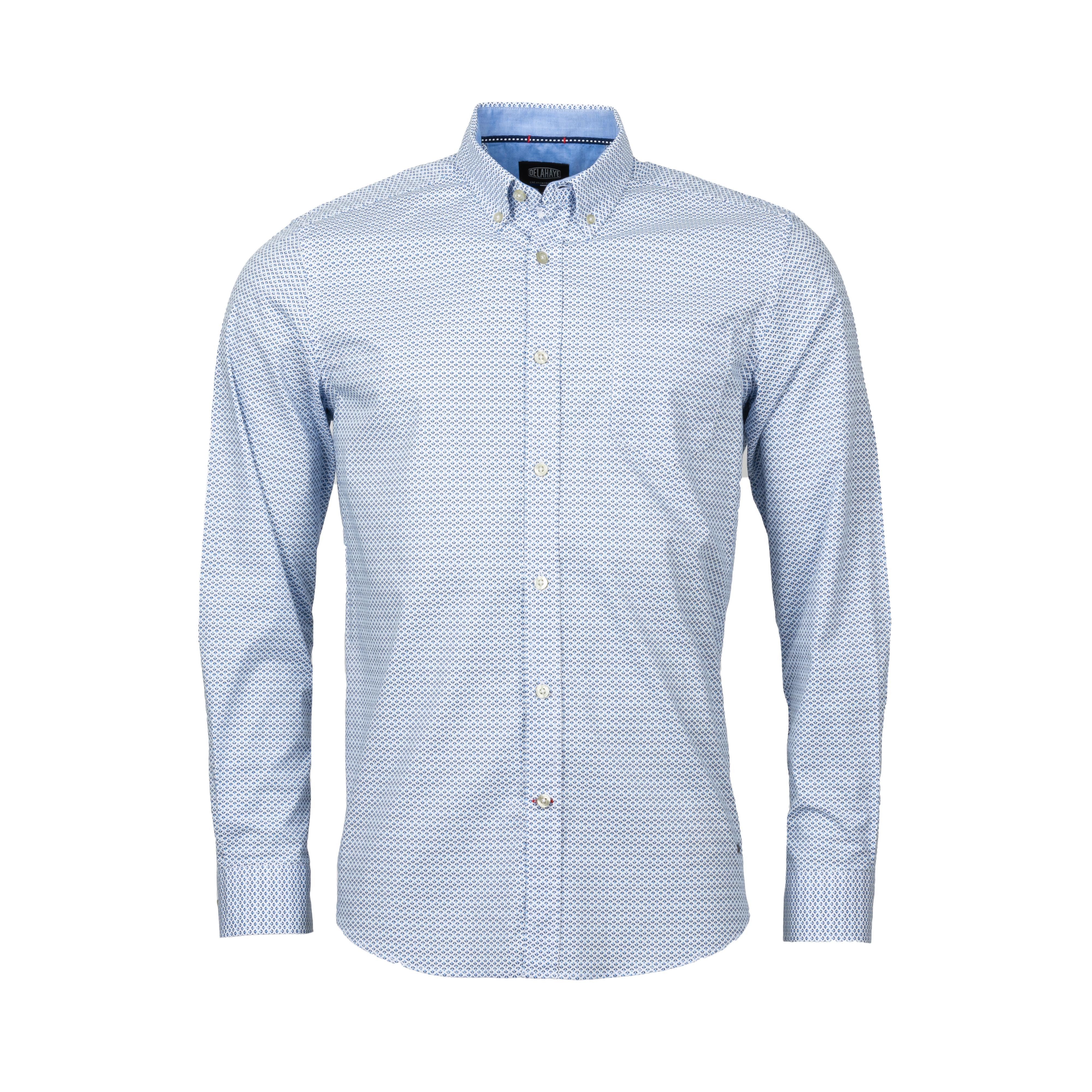 Chemise droite Delahaye en coton stretch à motifs bleu clair et bleu marine