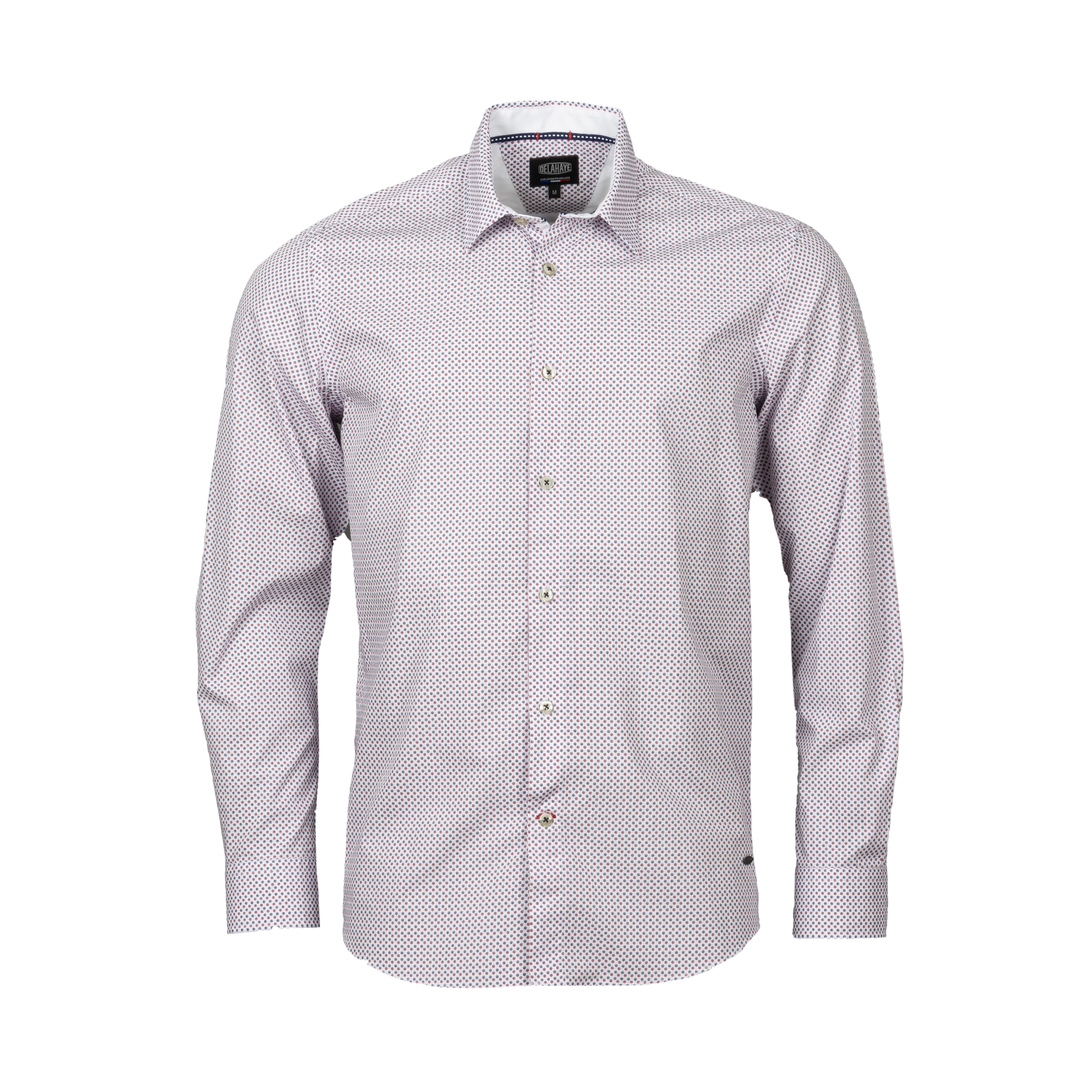 Chemise droite Delahaye en coton à motifs rouges et bleus