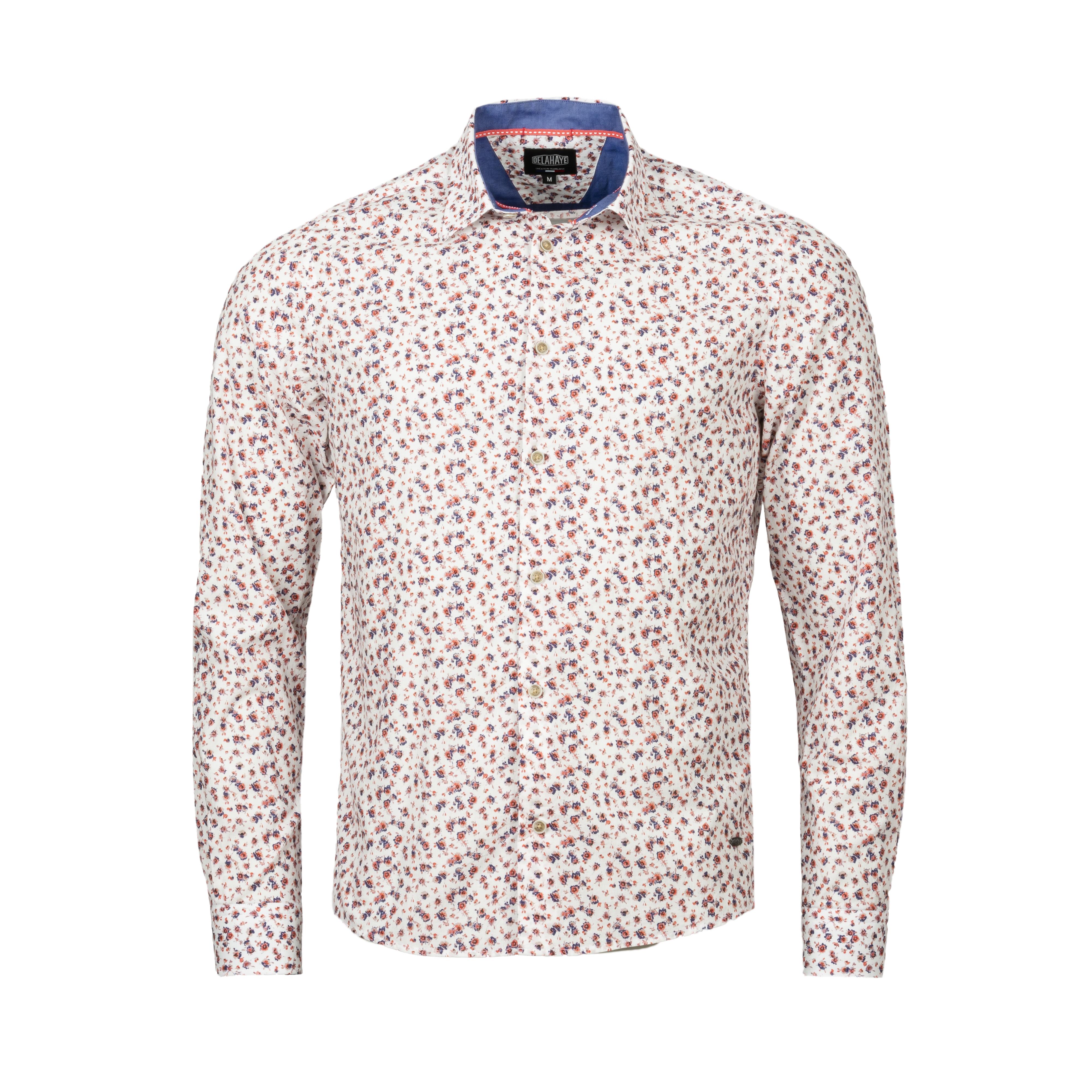 Chemise ajustée Delahaye en coton à motifs fleuris roses