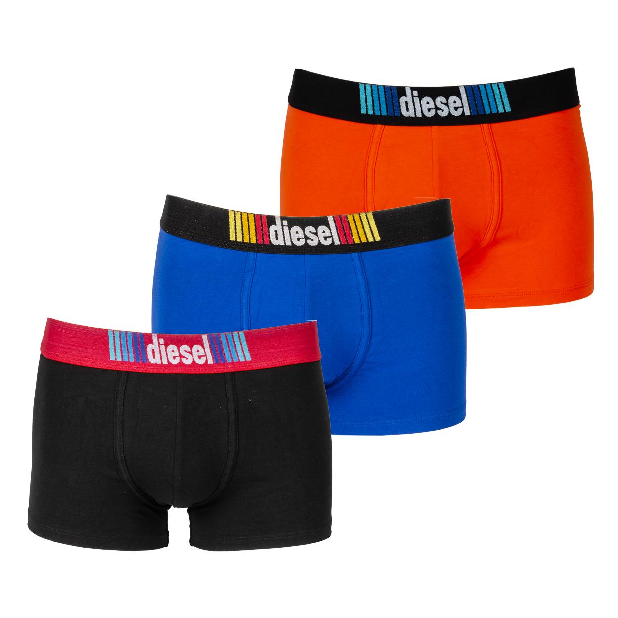 Lot de 3 boxers diesel damien en coton stretch noir, bleu et orange