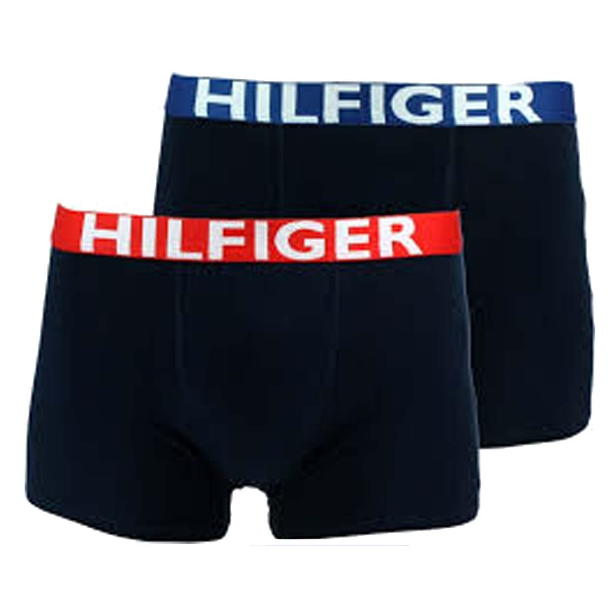 Lot de 2 boxers  en coton stretch bleu marine à ceinture bleu roi et rouge