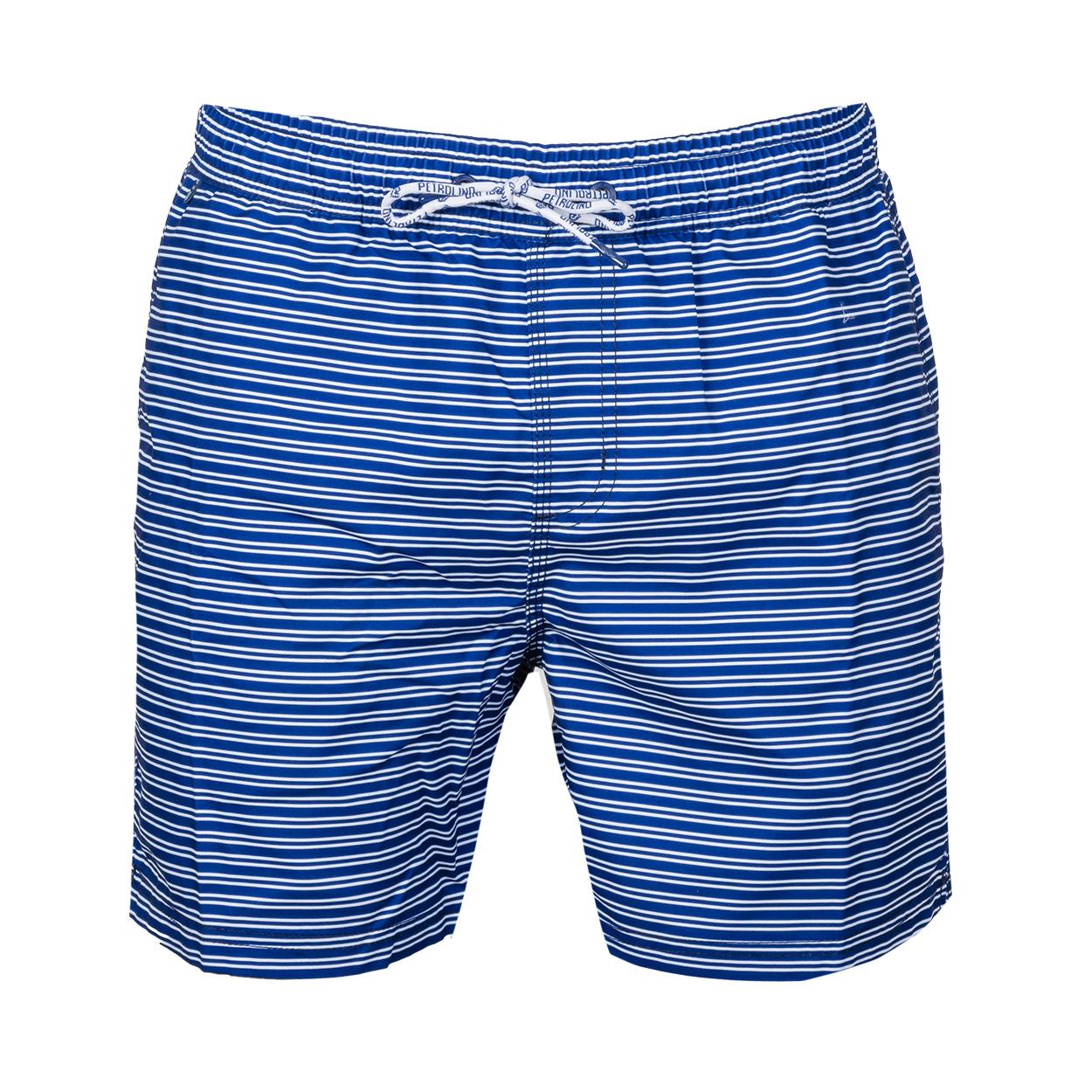 Short de bain Petrol Industries bleu à rayures horizontales blanches