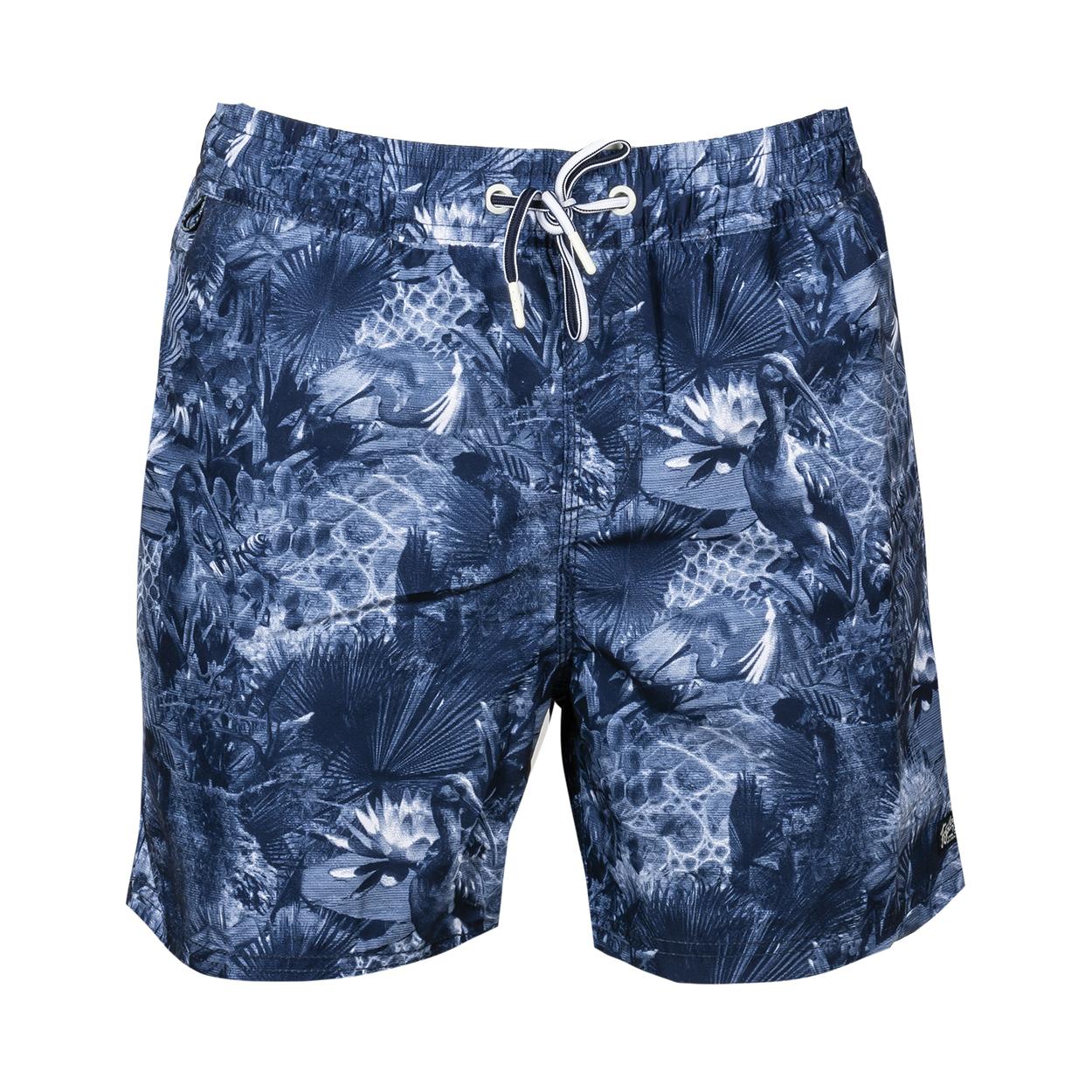 Short de bain Petrol Industries bleu marine à motifs blancs et bleu ciel