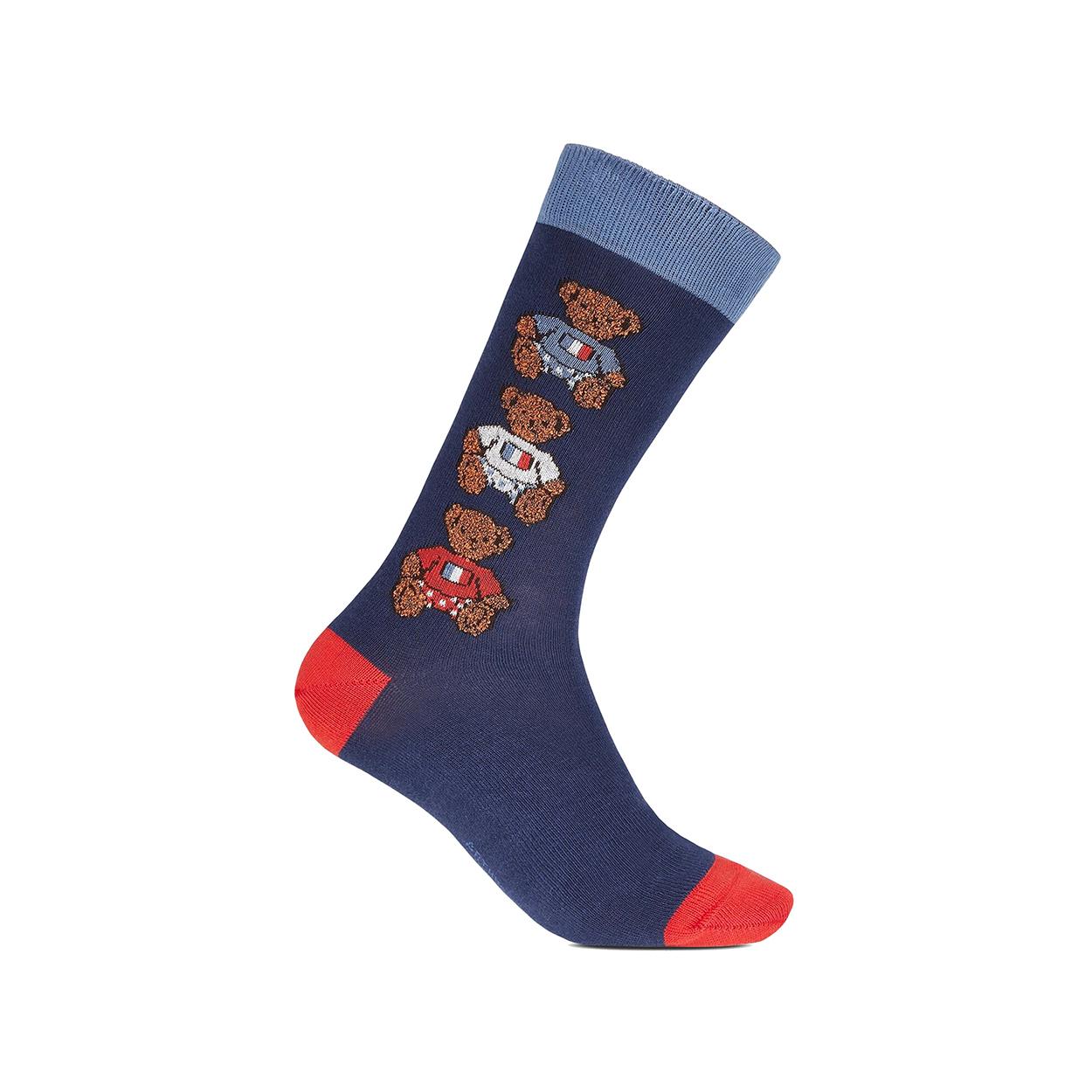 Chaussettes hautes  teddy en coton mélangé stretch bleu marine à motifs oursons