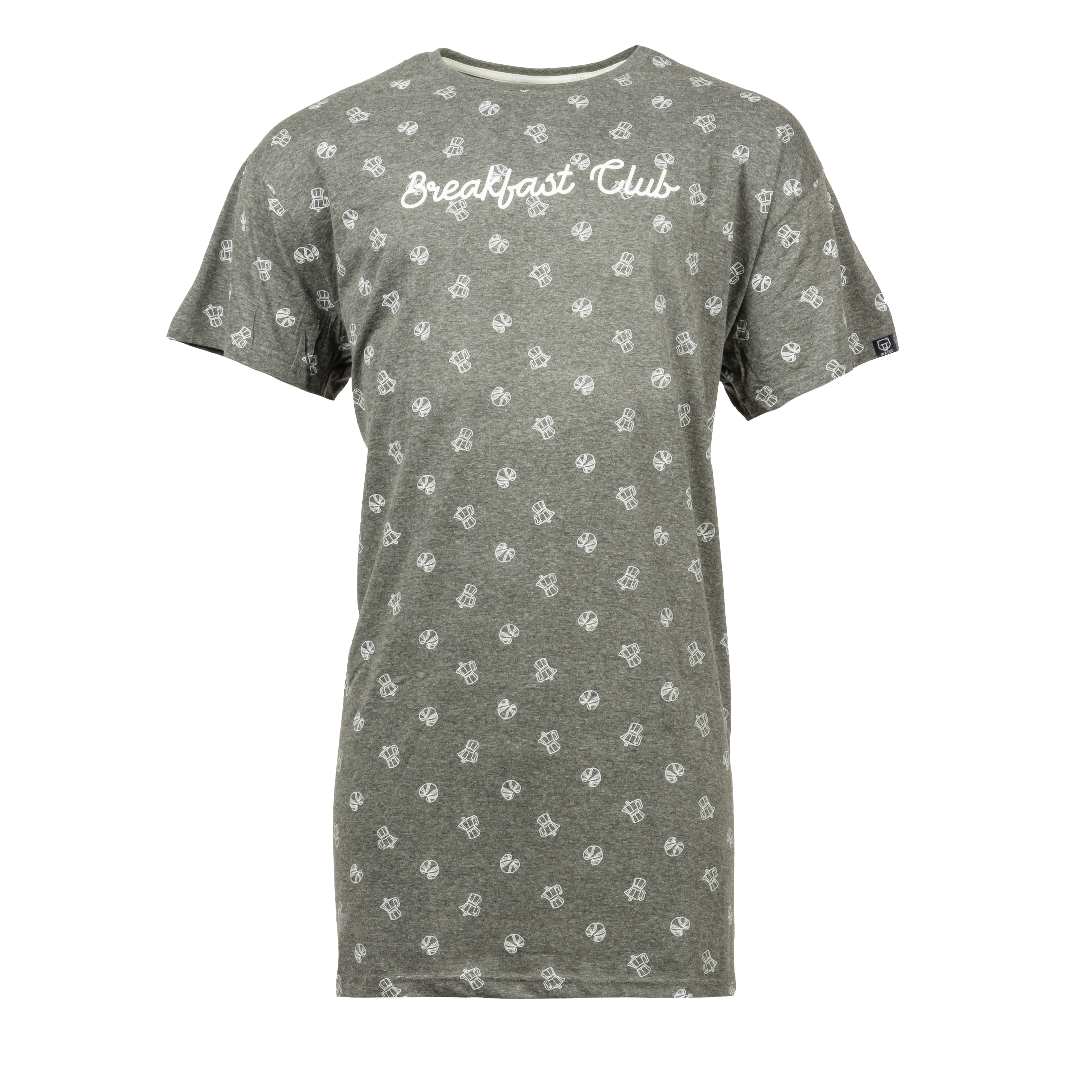 Tee shirt de pyjama  en coton gris à motifs croissants et cafetières blancs