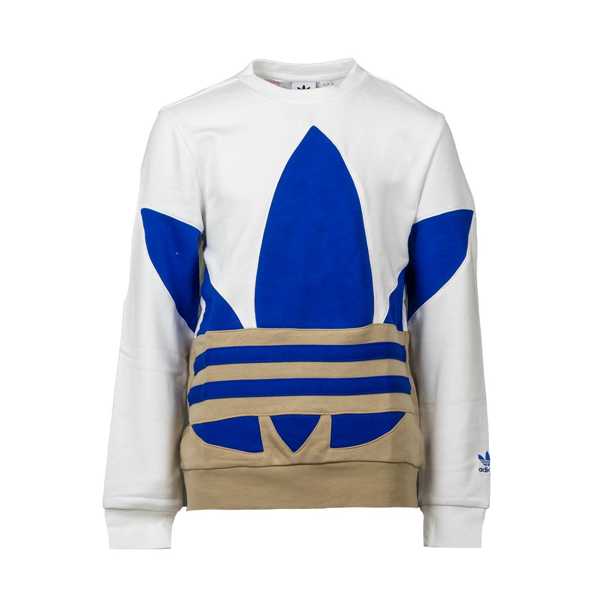 Sweat col rond  big trf crew en coton mélangé blanc et beige à logo bleu indigo