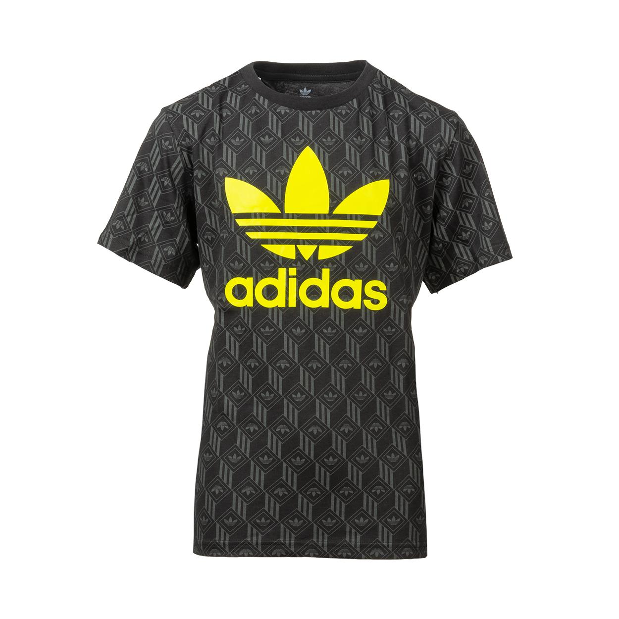 Tee-shirt col rond  originals en coton noir floqué en jaune et motifs logo gris