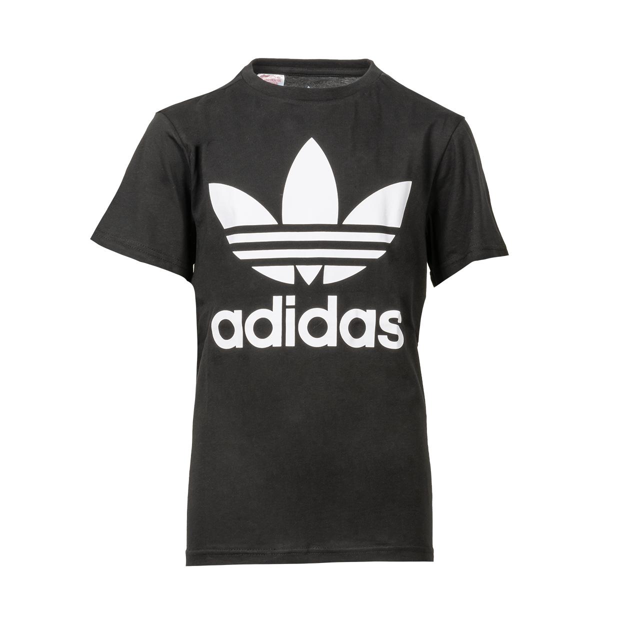 Tee-shirt col rond  trefoil en coton noir floqué en blanc
