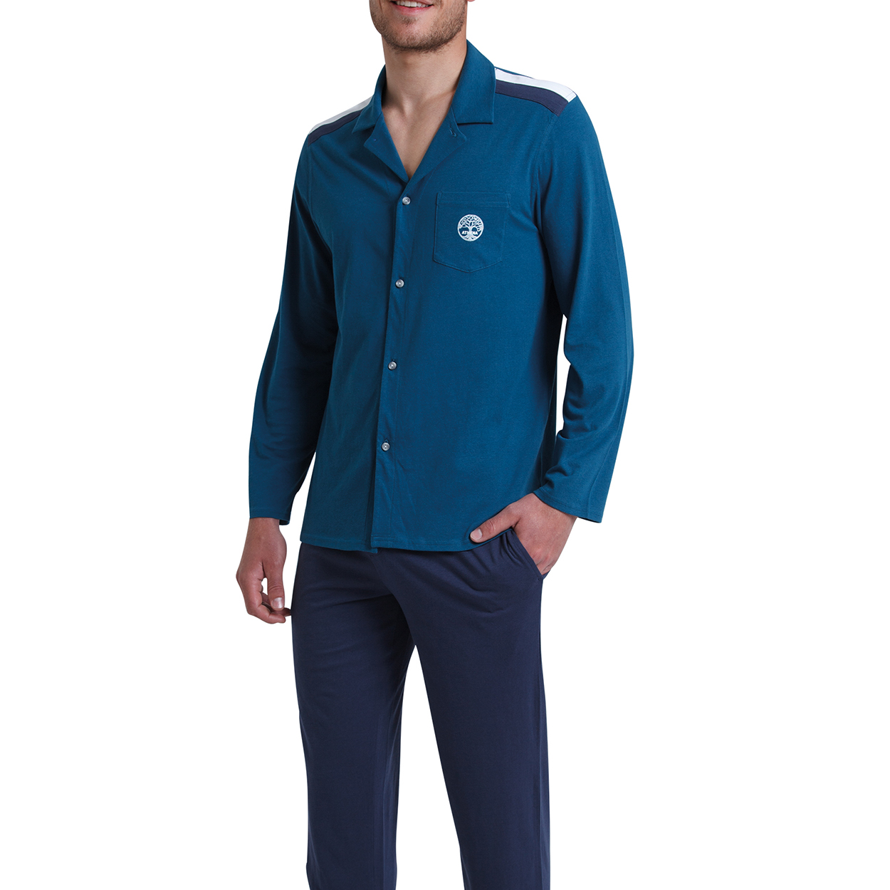 Pyjama long chemise  en coton bleu canard et bleu marine