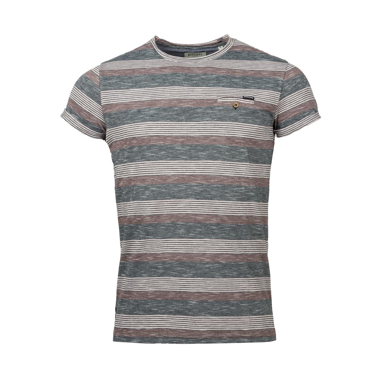 Tee-shirt col rond deeluxe est.74 craft en coton mélangé bleu chiné rayé bordeaux