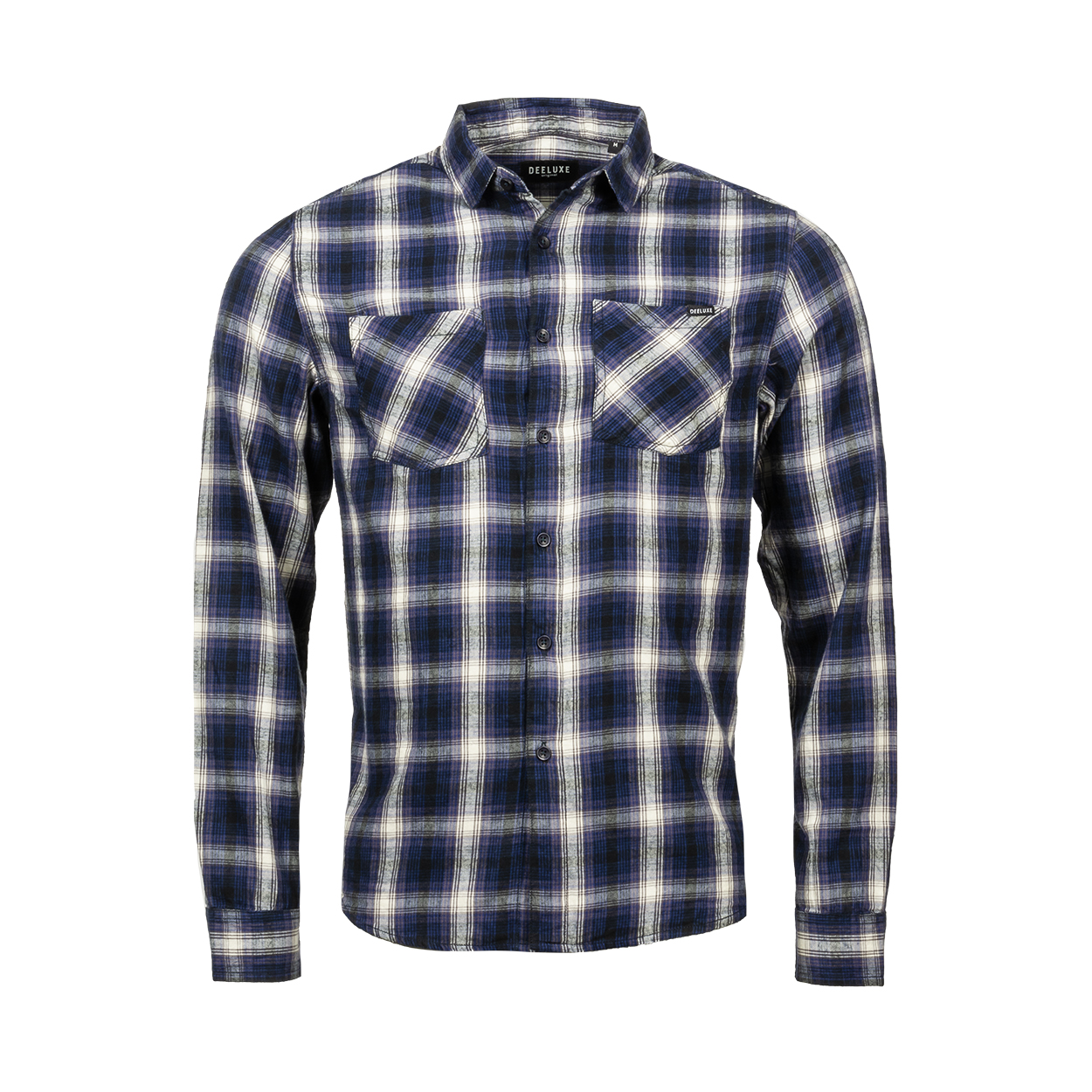 Chemise coupe ajustée deeluxe topola en coton à carreaux bleu marine, violets, noirs et blancs