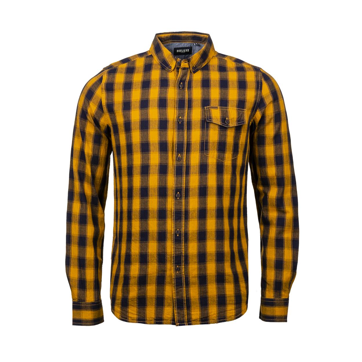 Chemise coupe droite deeluxe pieter en coton à carreaux jaunes et noirs