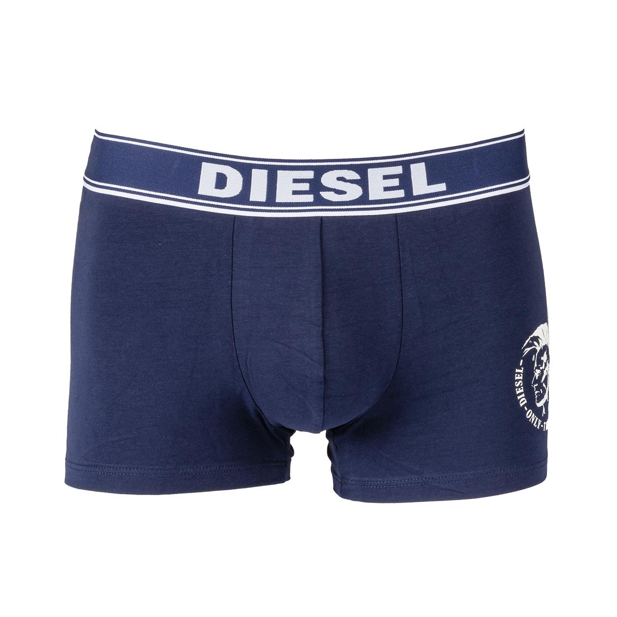 Boxer diesel shawn en coton stretch bleu marine floqué en blanc