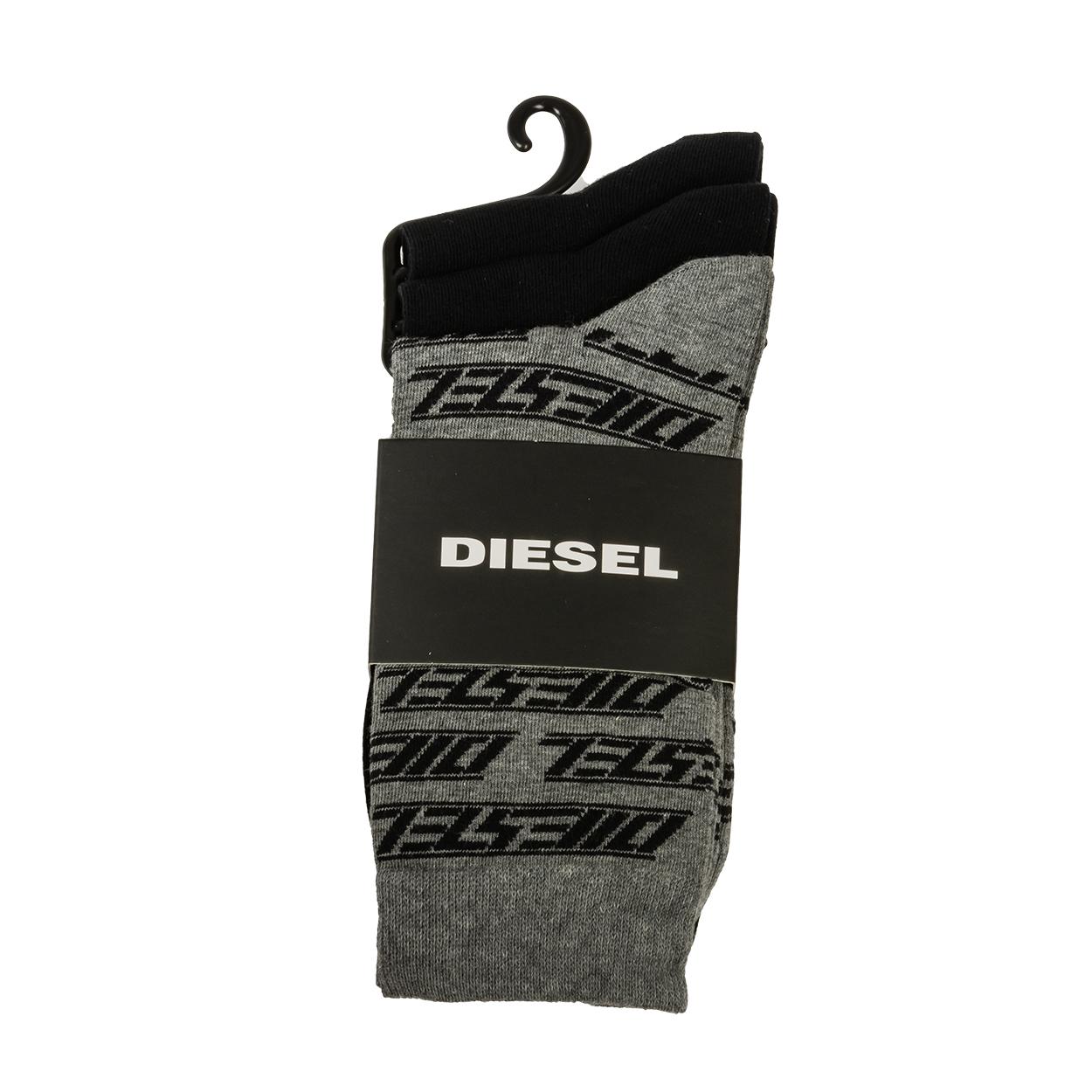 Lot de 3 paires de chaussettes diesel ray en coton mélangé gris et noir