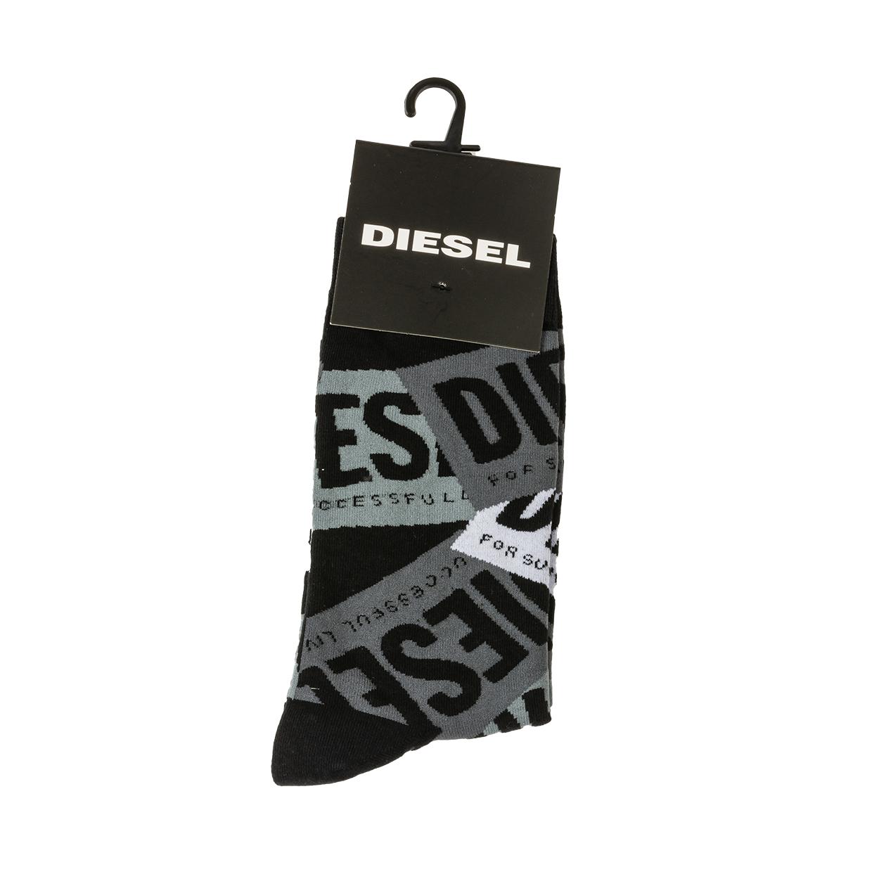 Chaussettes diesel hermine noir à motifs gris clair, gris foncé et blancs