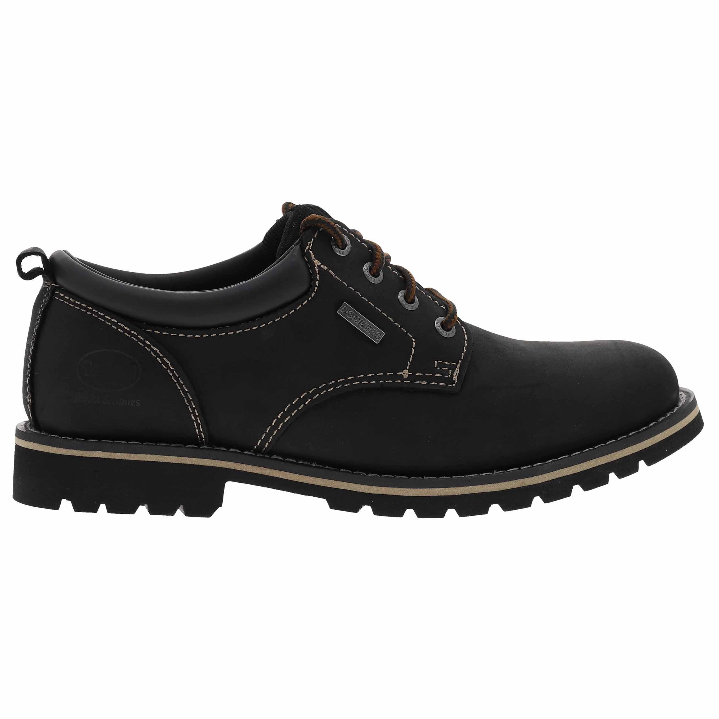 Chaussures  en cuir noir à surpiqures beiges