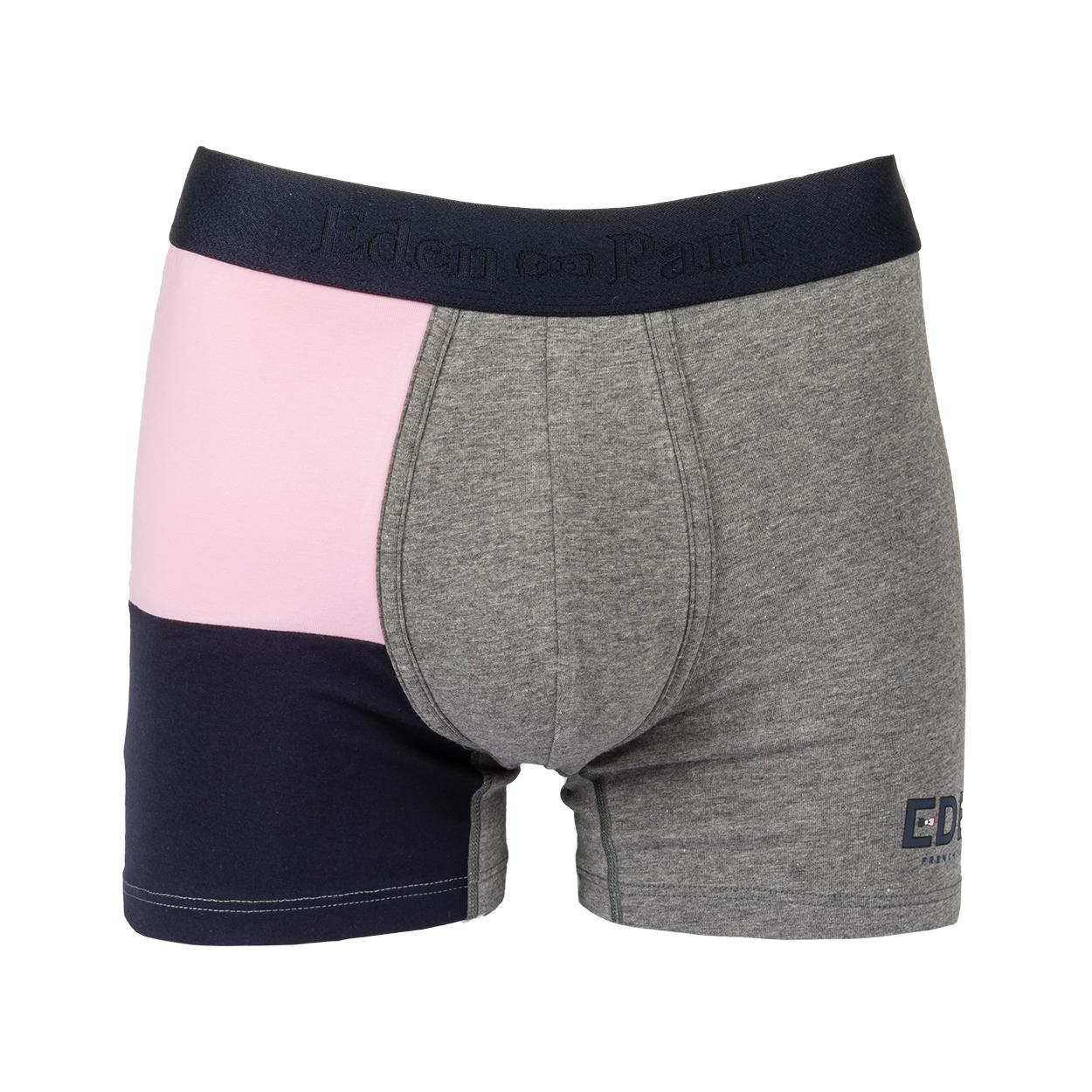 Boxer eden park en coton stretch gris à bandes bleu marine et rose