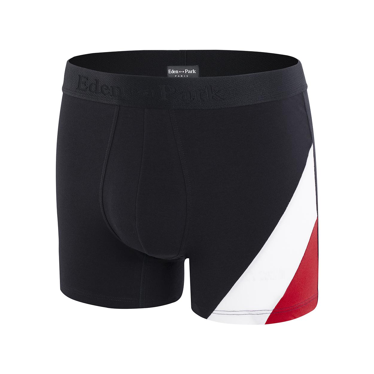 Boxer eden park en coton stretch bleu marine à bandes rouge et blanche