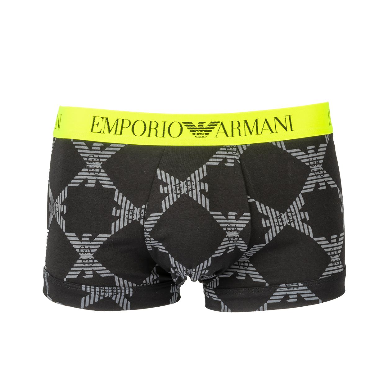 Boxer  en coton stretch noir à ceinture jaune fluo
