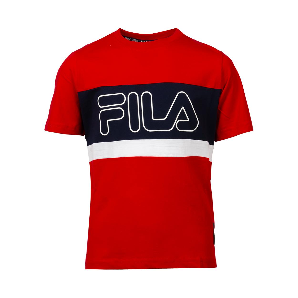Tee-shirt col rond  mattia en coton rouge floqué à bandes bleu marine et blanches