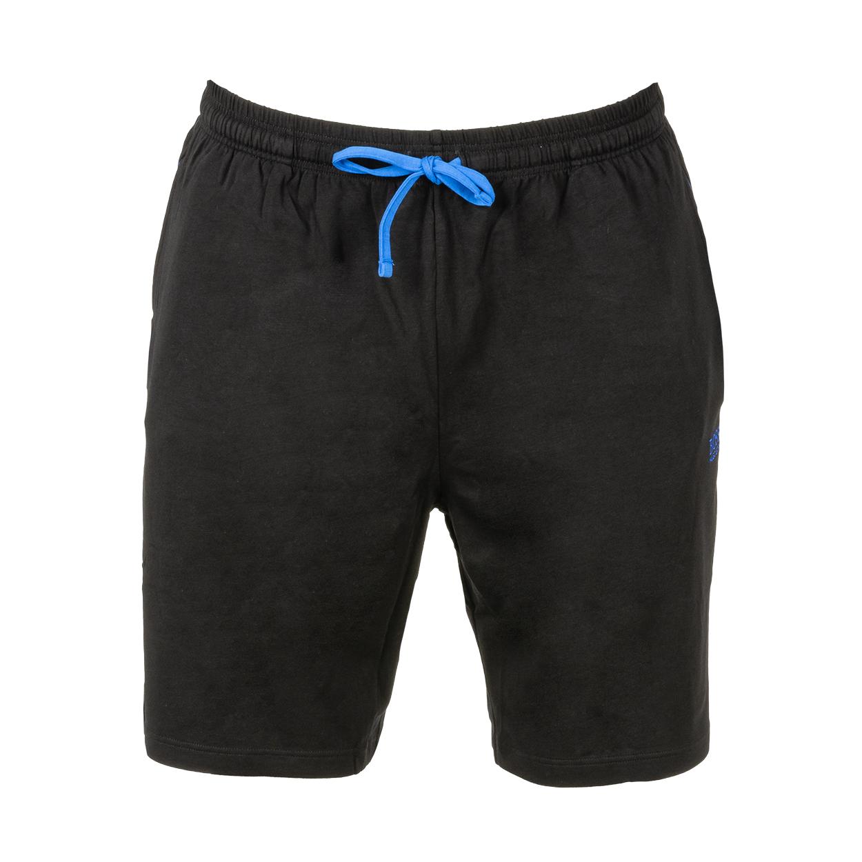 Short d\'intérieur  mix&match en coton stretch noir brodé bleu électrique
