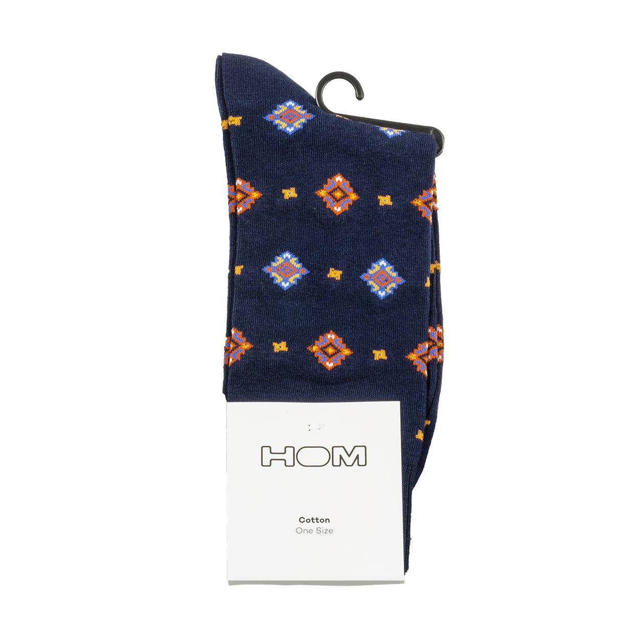 Paire de chaussettes  marius en coton stretch mélangé bleu marine à motifs multicolores