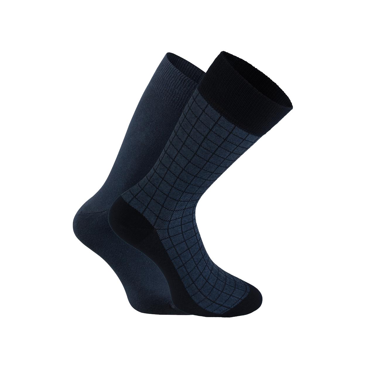 Lot de 2 paires de chaussettes  en coton mélangé bleu marine et imprimé carreaux
