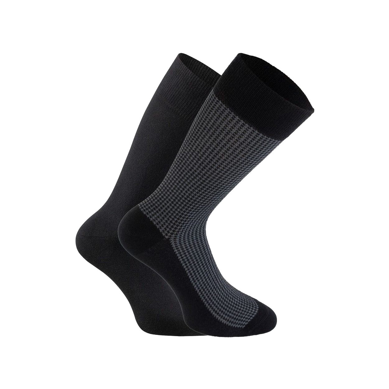 Lot de 2 paires de chaussettes  en coton mélangé noir et imprimé