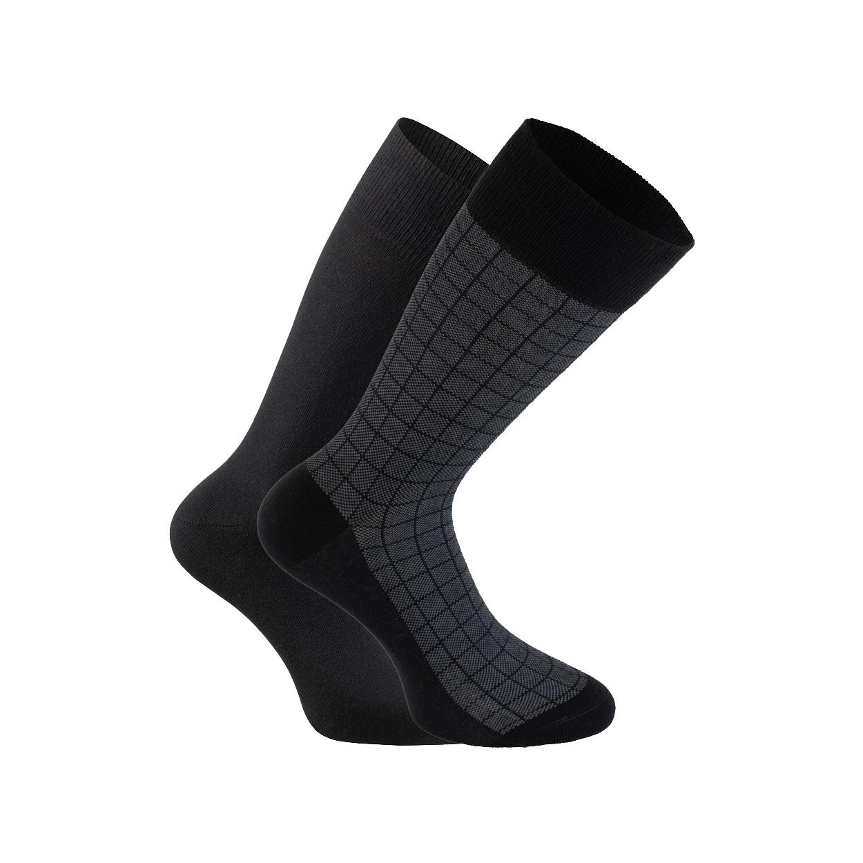 Lot de 2 paires de chaussettes  en coton mélangé noir et imprimé carreaux