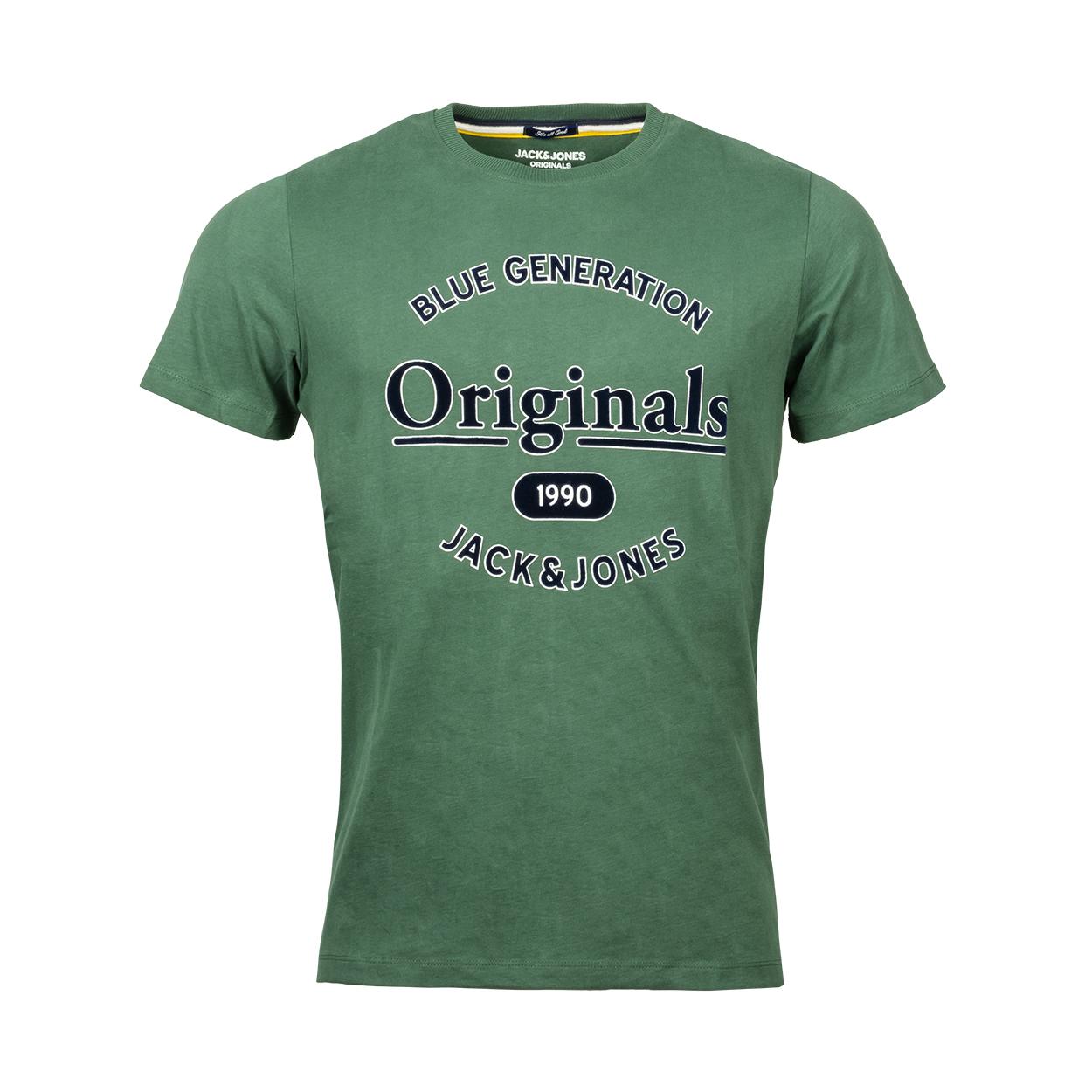 Tee-shirt col rond  jorlars en coton vert bouteille floqué