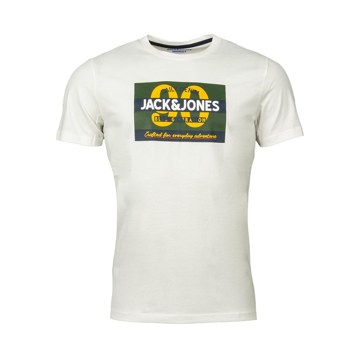 Tee-shirt col rond  jortonni en coton blanc floqué
