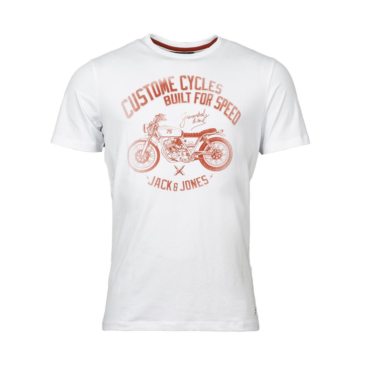 Tee-shirt col rond  en coton blanc floqué en rouge