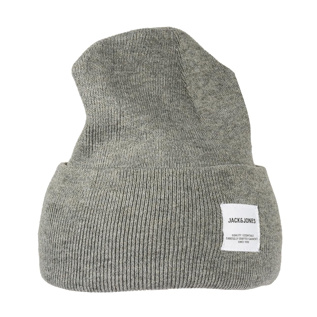 Bonnet  beanie gris clair à étiquette blanche