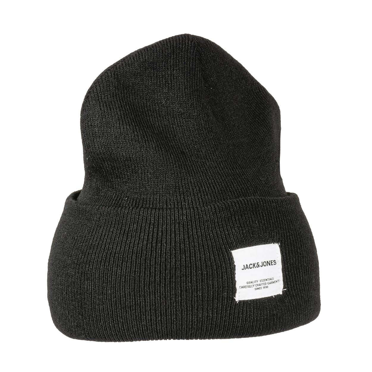 Bonnet  beanie noir à étiquette blanche