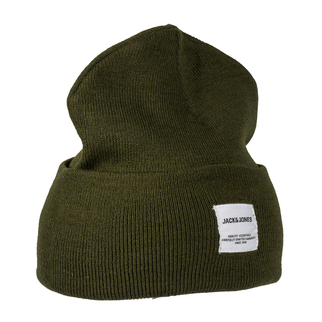 Bonnet  beanie vert sapin à étiquette blanche