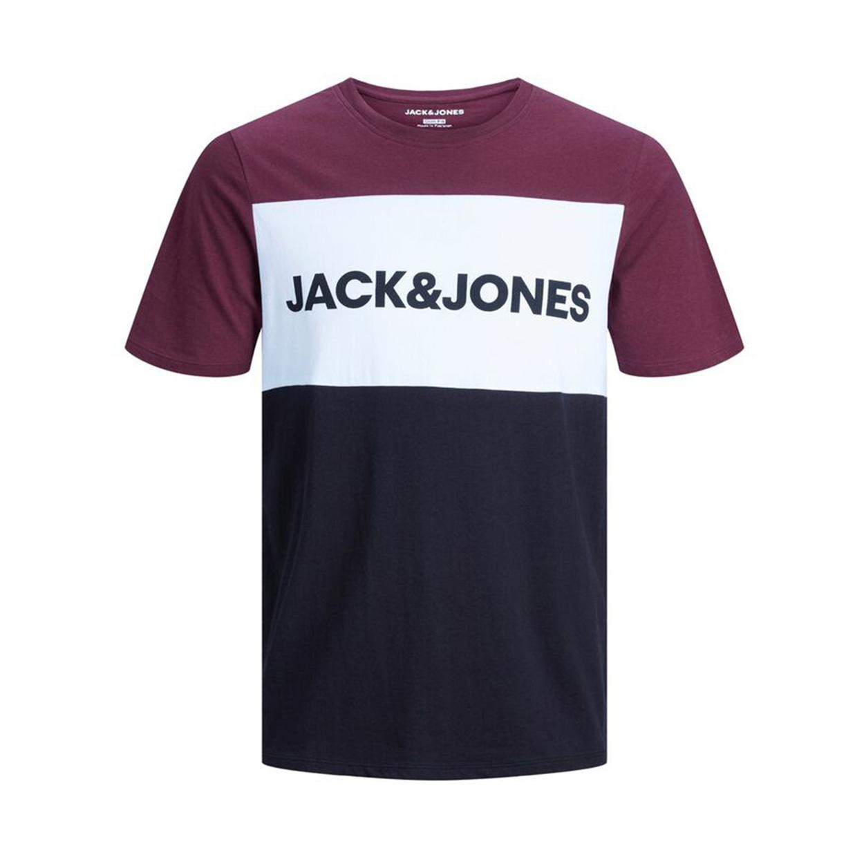 Tee-shirt col rond  jelogo en coton bordeaux, blanc et noir