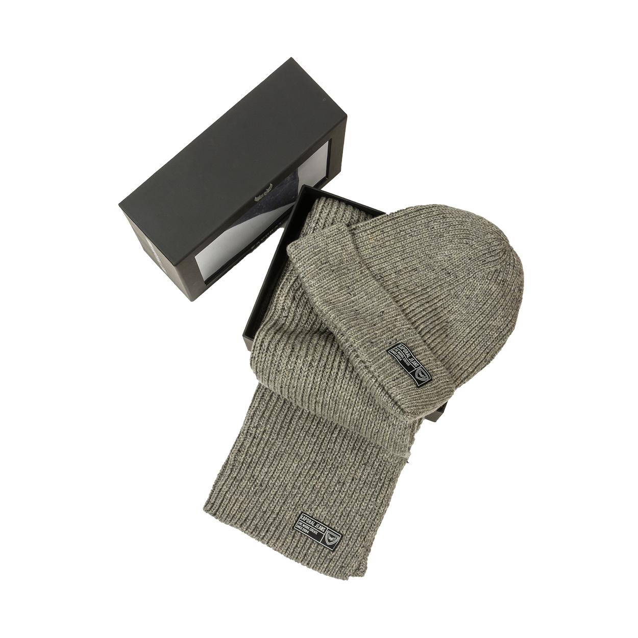 Coffret écharpe et bonnet  bhico gris clair chiné