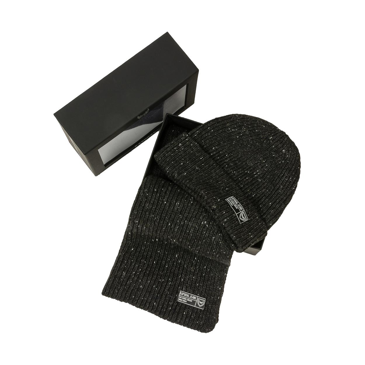 Coffret écharpe et bonnet  bhico noir chiné