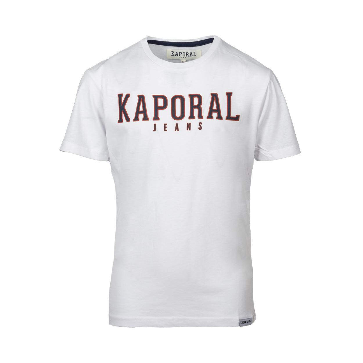 Tee-shirt col rond  orad en coton blanc floqué en noir et rouge